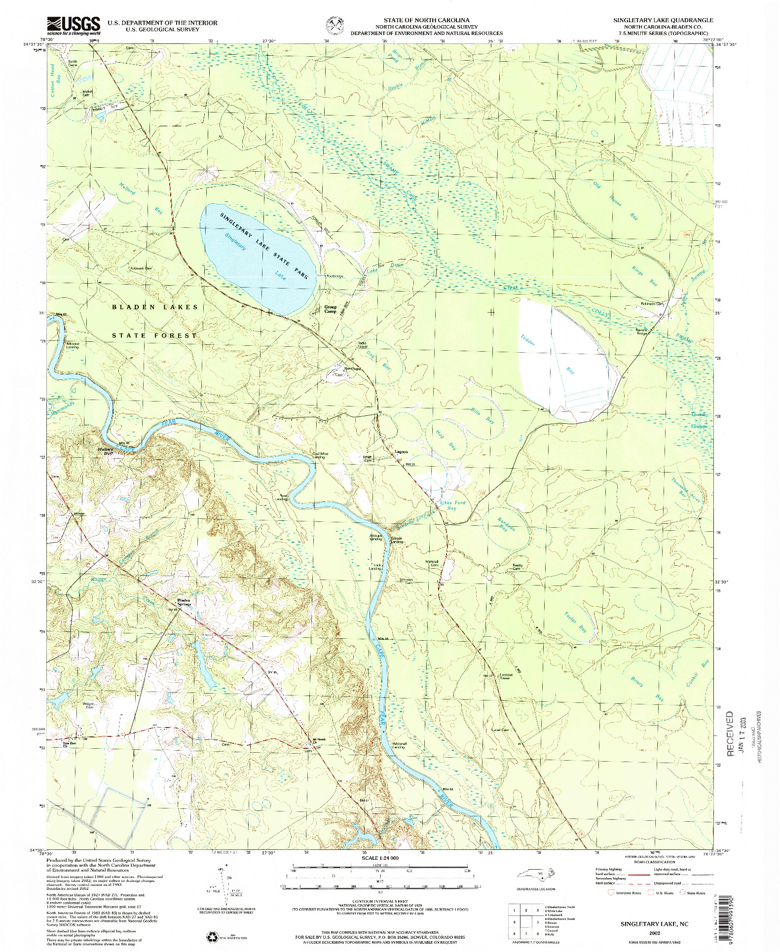 USGS 1:24000-SCALE QUADRANGLE FOR SINGLETARY LAKE, NC 2002