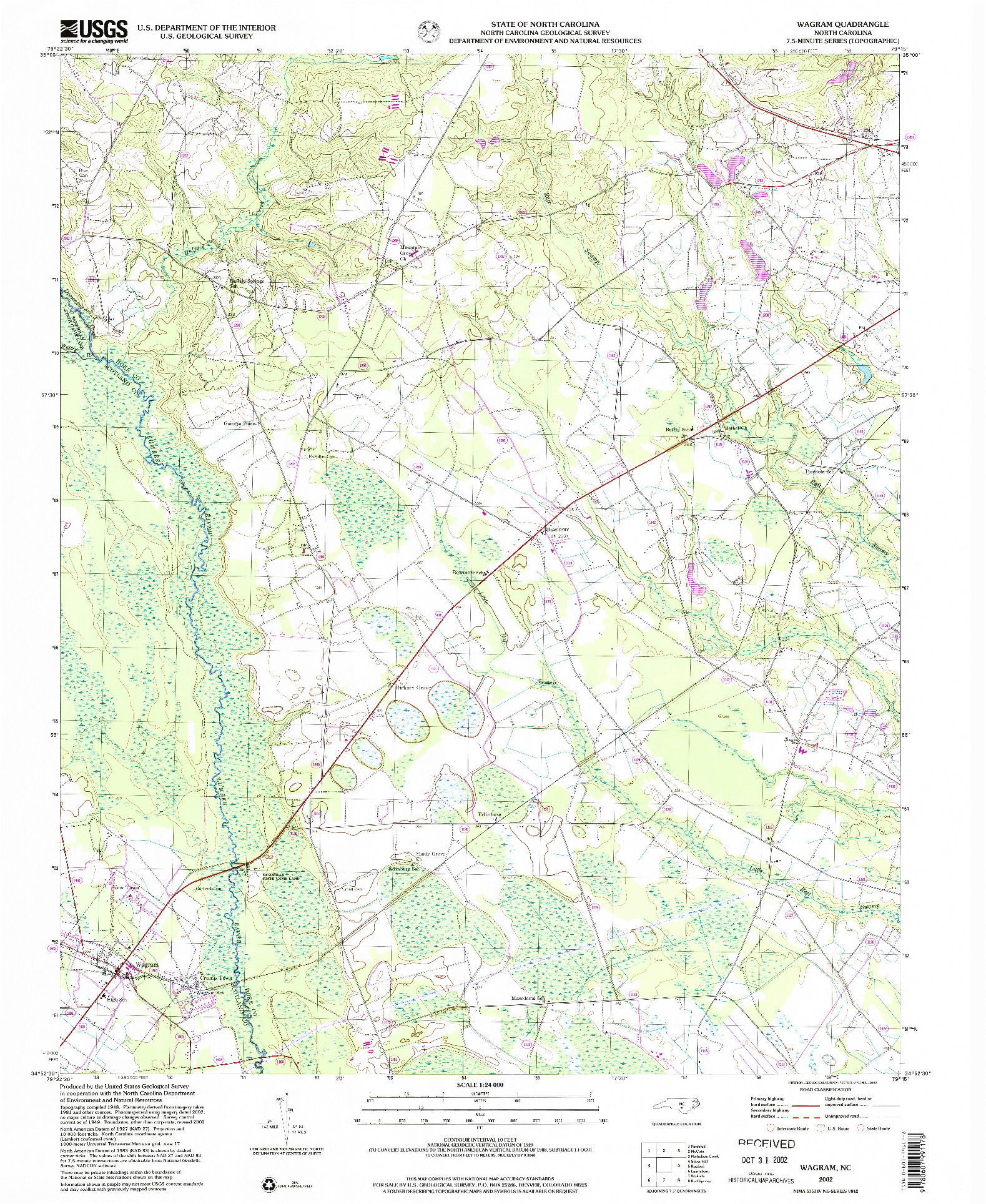 USGS 1:24000-SCALE QUADRANGLE FOR WAGRAM, NC 2002
