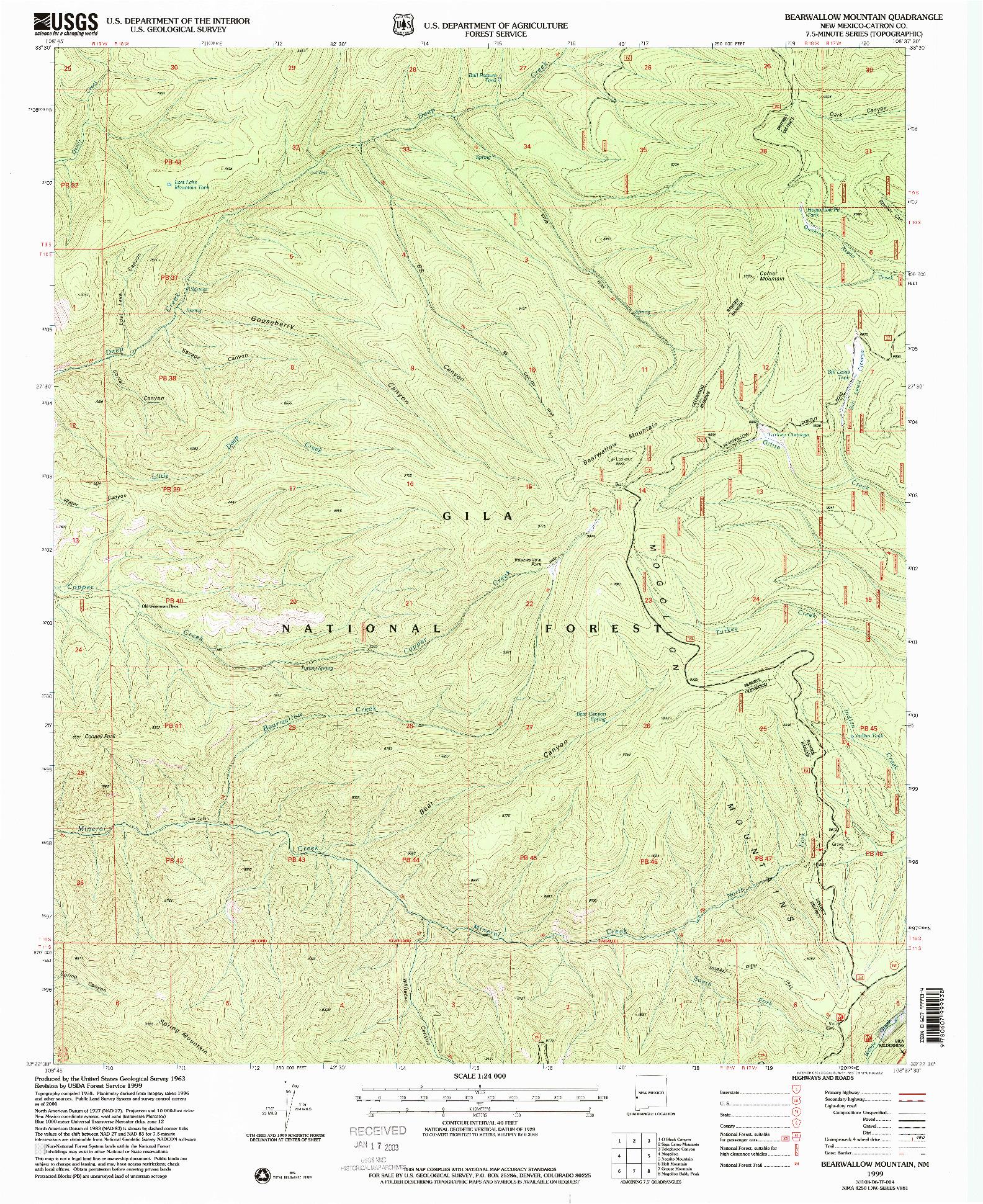 USGS 1:24000-SCALE QUADRANGLE FOR BEARWALLOW MOUNTAIN, NM 1999