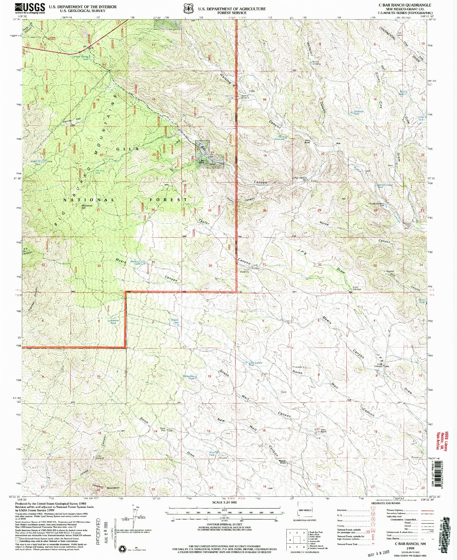 USGS 1:24000-SCALE QUADRANGLE FOR C BAR RANCH, NM 1999