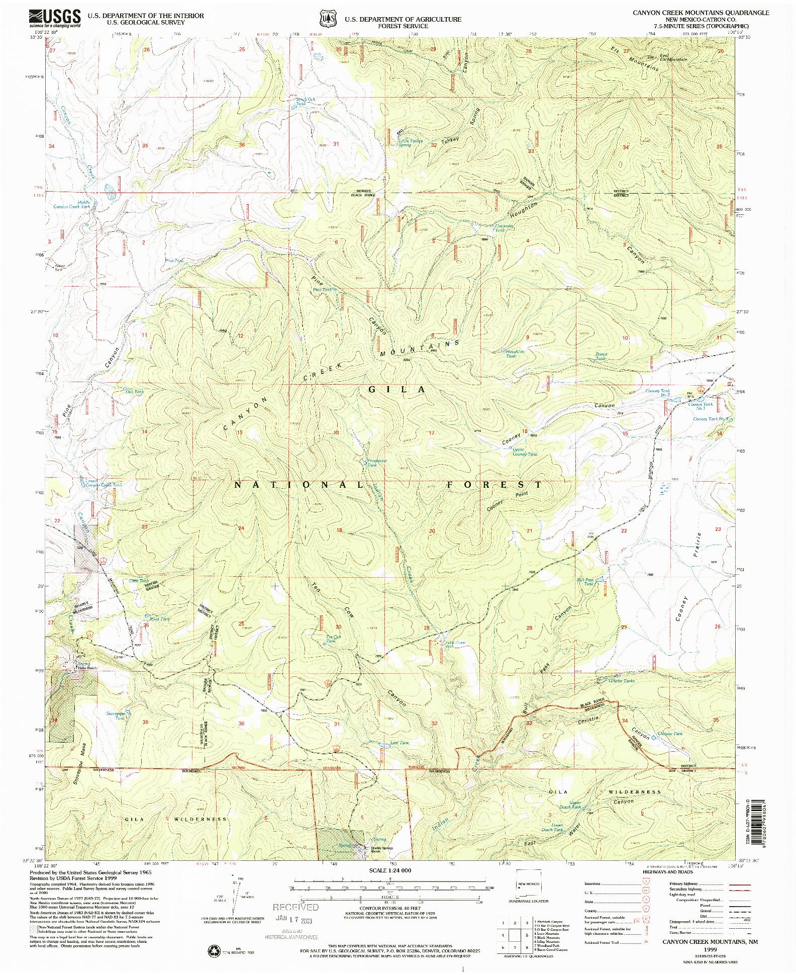 USGS 1:24000-SCALE QUADRANGLE FOR CANYON CREEK MOUNTAINS, NM 1999