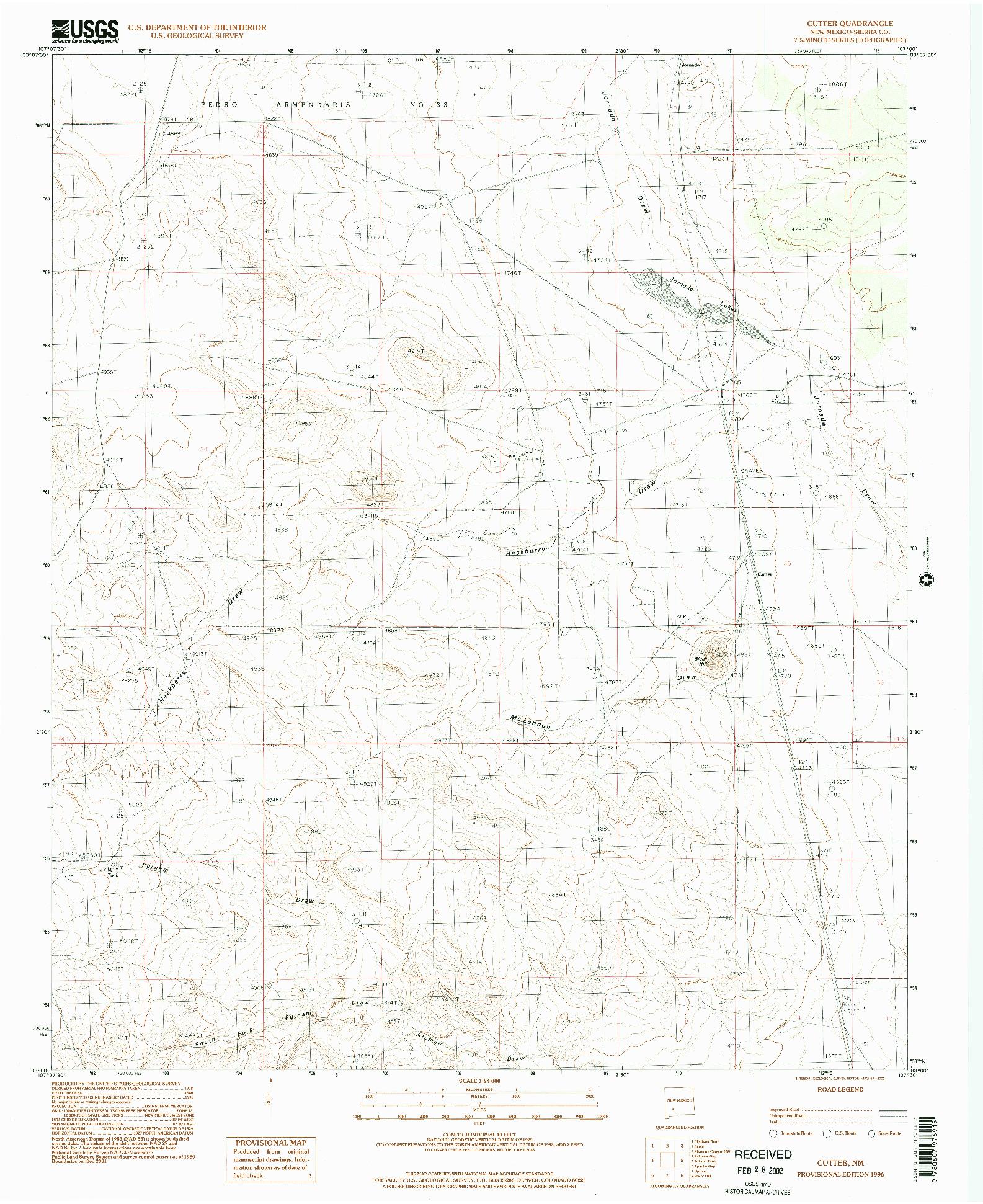 USGS 1:24000-SCALE QUADRANGLE FOR CUTTER, NM 1996