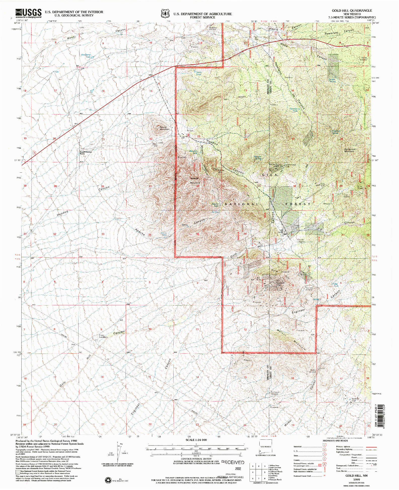 USGS 1:24000-SCALE QUADRANGLE FOR GOLD HILL, NM 1999