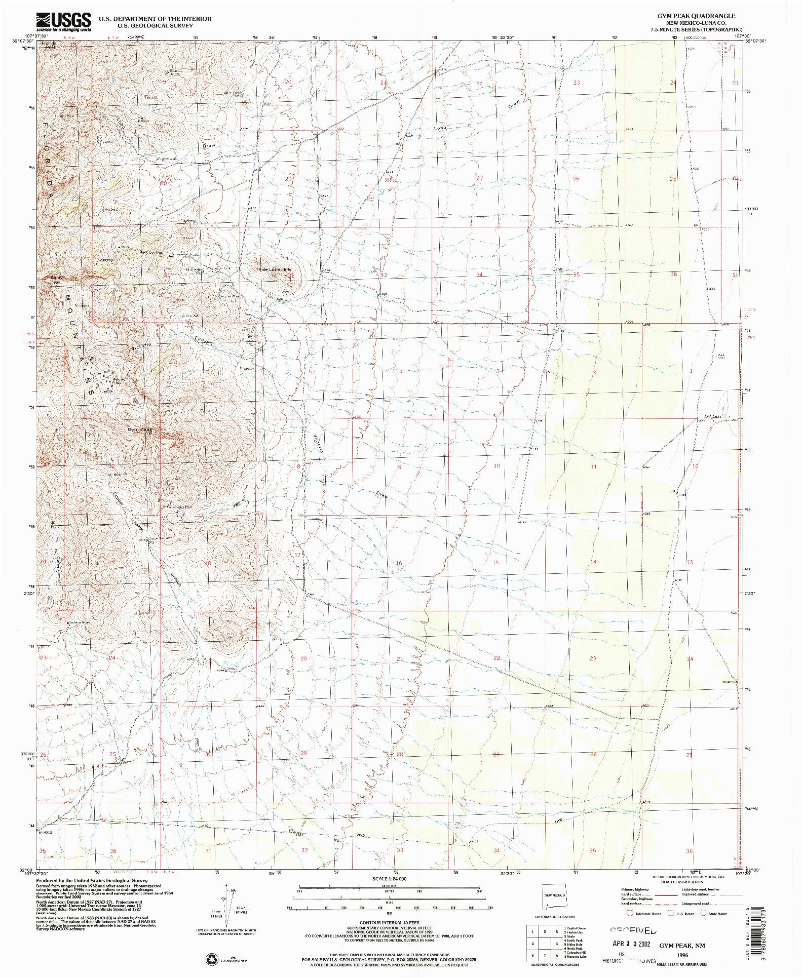 USGS 1:24000-SCALE QUADRANGLE FOR GYM PEAK, NM 1996