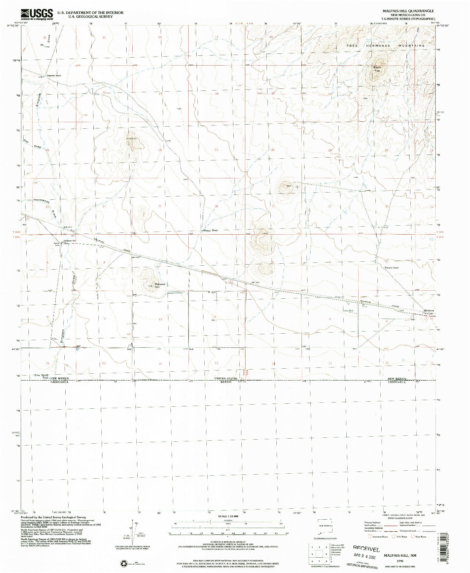 USGS 1:24000-SCALE QUADRANGLE FOR MALPAIS HILL, NM 1996