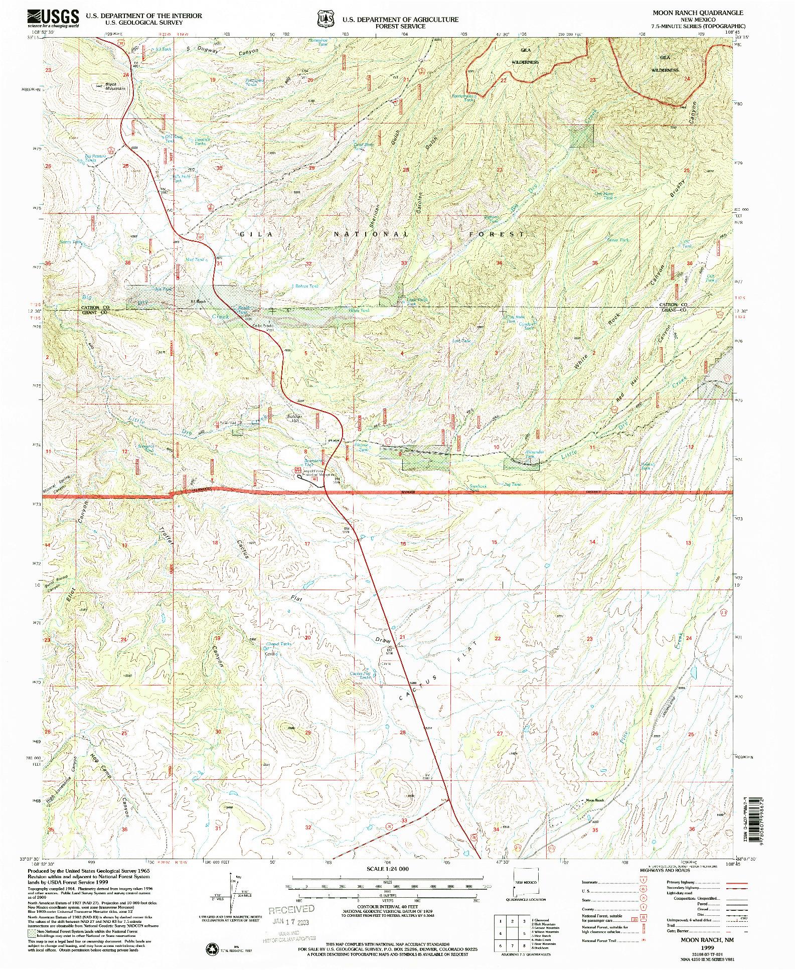 USGS 1:24000-SCALE QUADRANGLE FOR MOON RANCH, NM 1999
