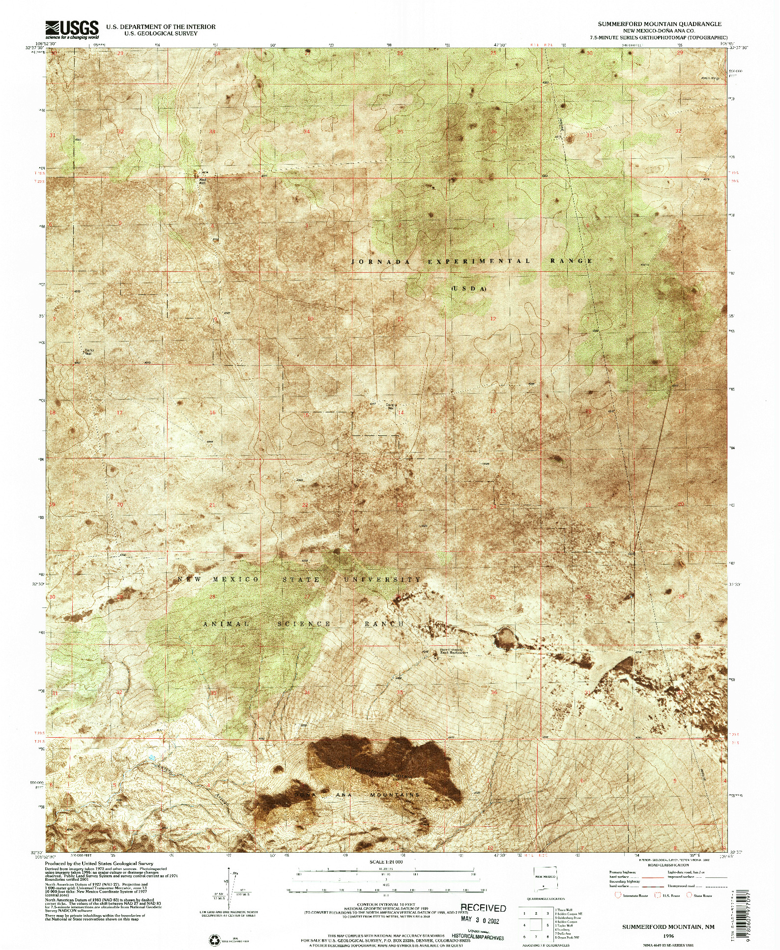 USGS 1:24000-SCALE QUADRANGLE FOR SUMMERFORD MOUNTAIN, NM 1996
