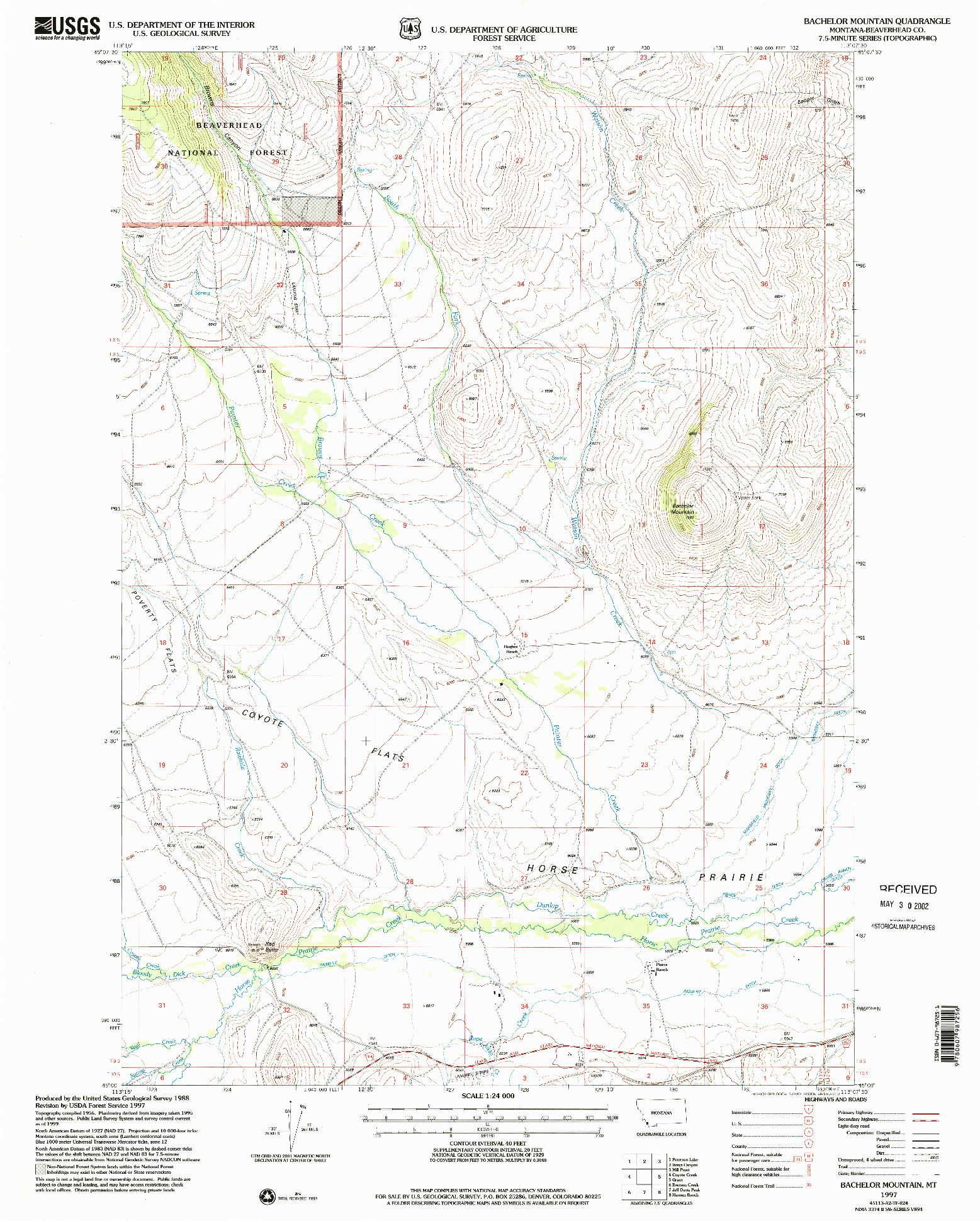 USGS 1:24000-SCALE QUADRANGLE FOR BACHELOR MOUNTAIN, MT 1997