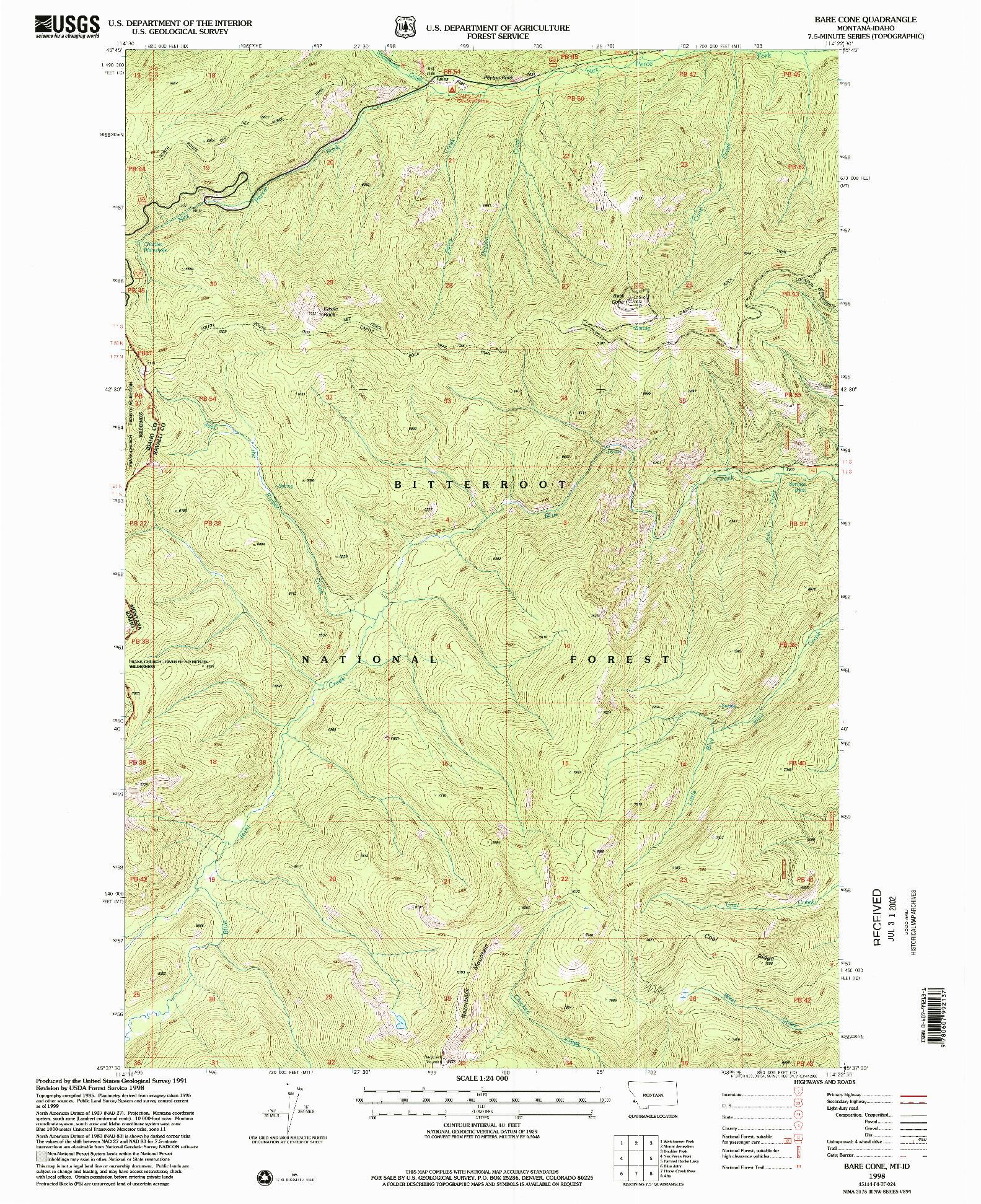 USGS 1:24000-SCALE QUADRANGLE FOR BARE CONE, MT 1998