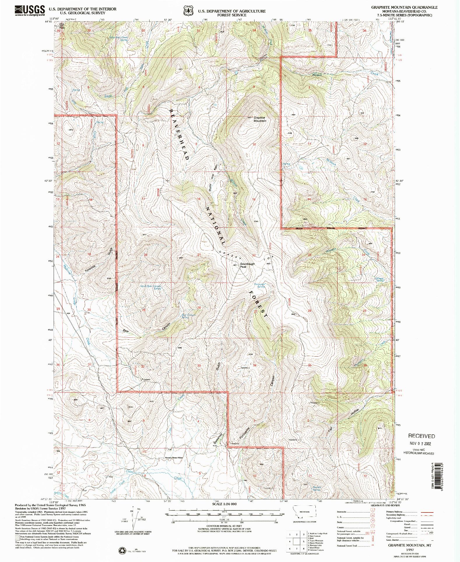USGS 1:24000-SCALE QUADRANGLE FOR GRAPHITE MOUNTAIN, MT 1997