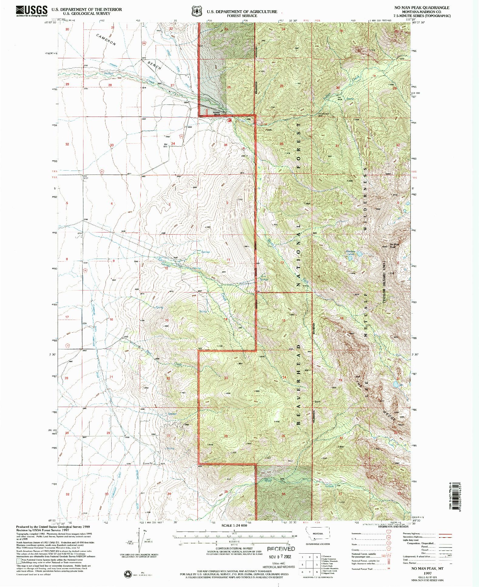 USGS 1:24000-SCALE QUADRANGLE FOR NO MAN PEAK, MT 1997