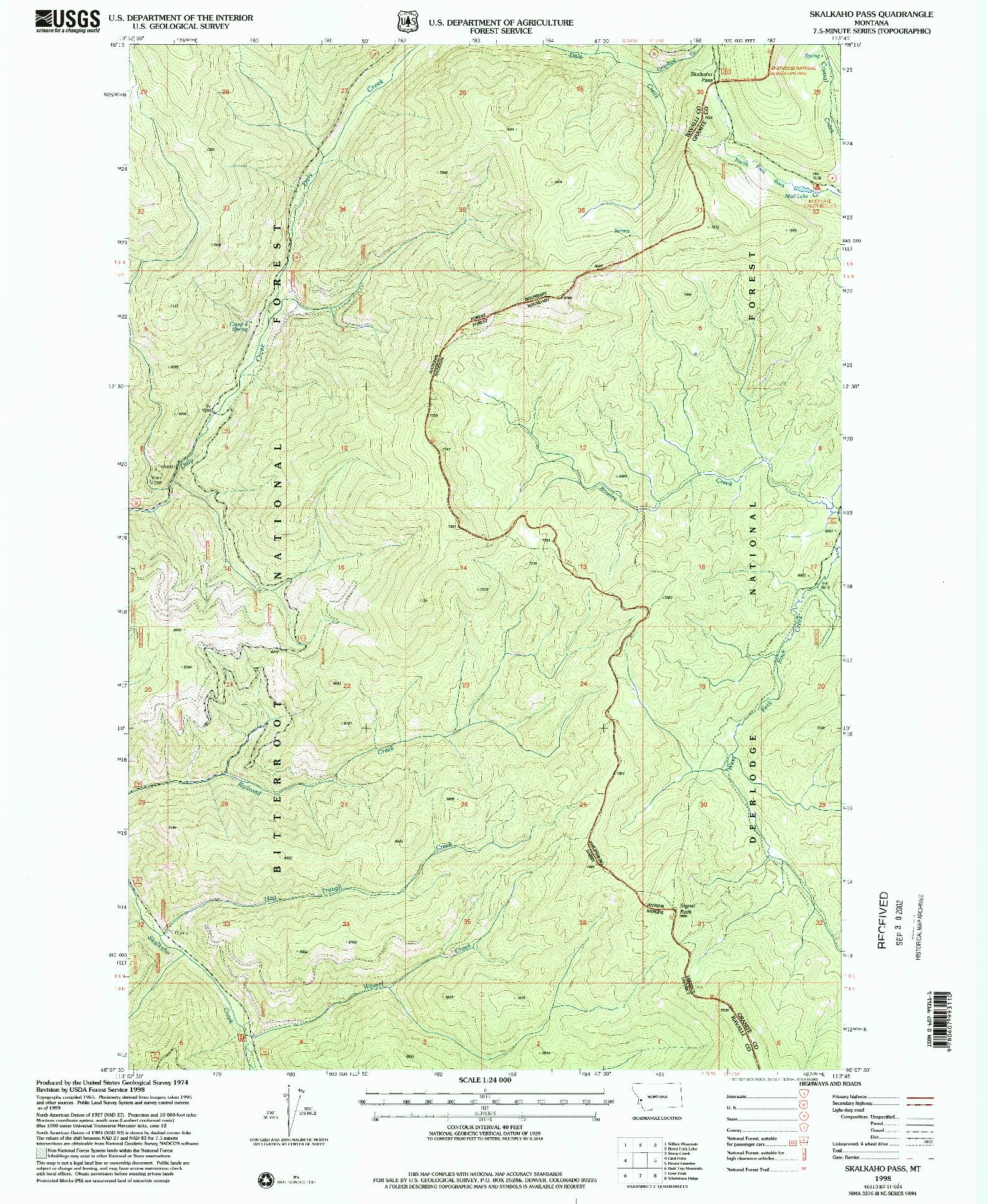 USGS 1:24000-SCALE QUADRANGLE FOR SKALKAHO PASS, MT 1998