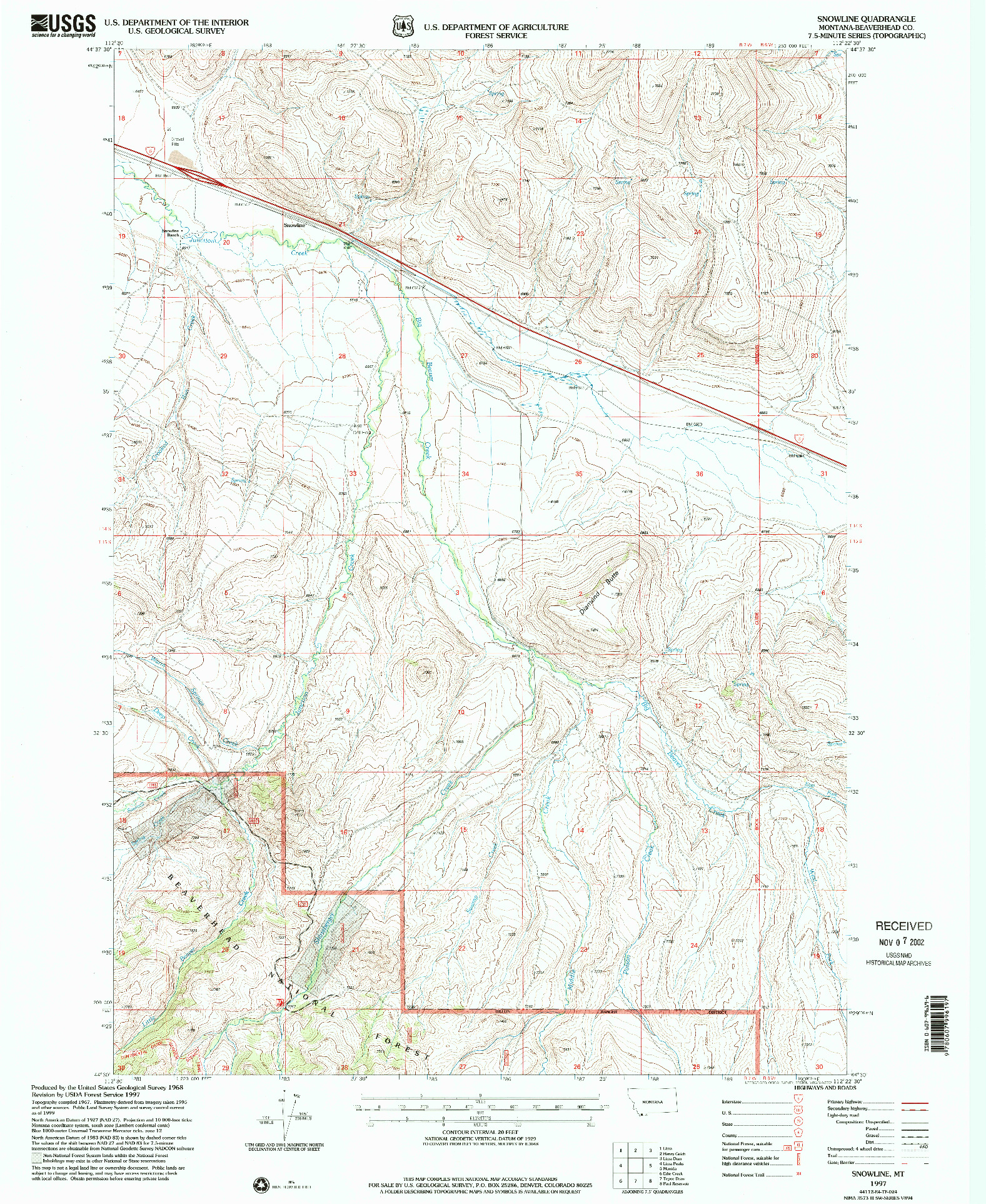 USGS 1:24000-SCALE QUADRANGLE FOR SNOWLINE, MT 1997