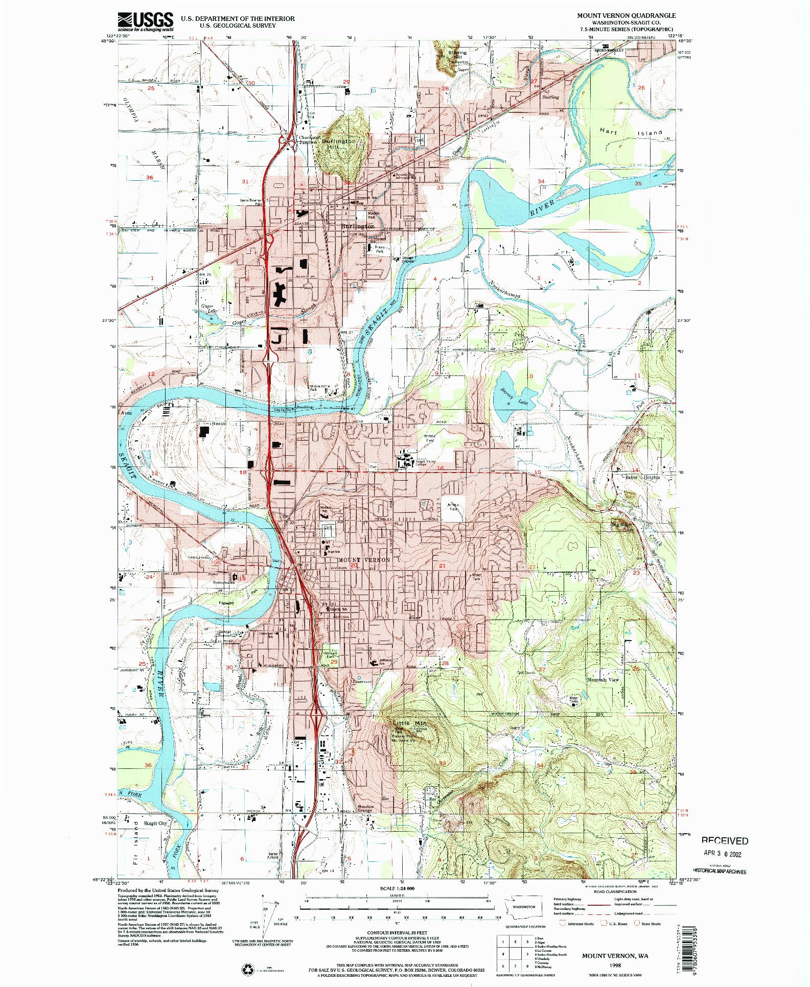 USGS 1:24000-SCALE QUADRANGLE FOR MOUNT VERNON, WA 1998