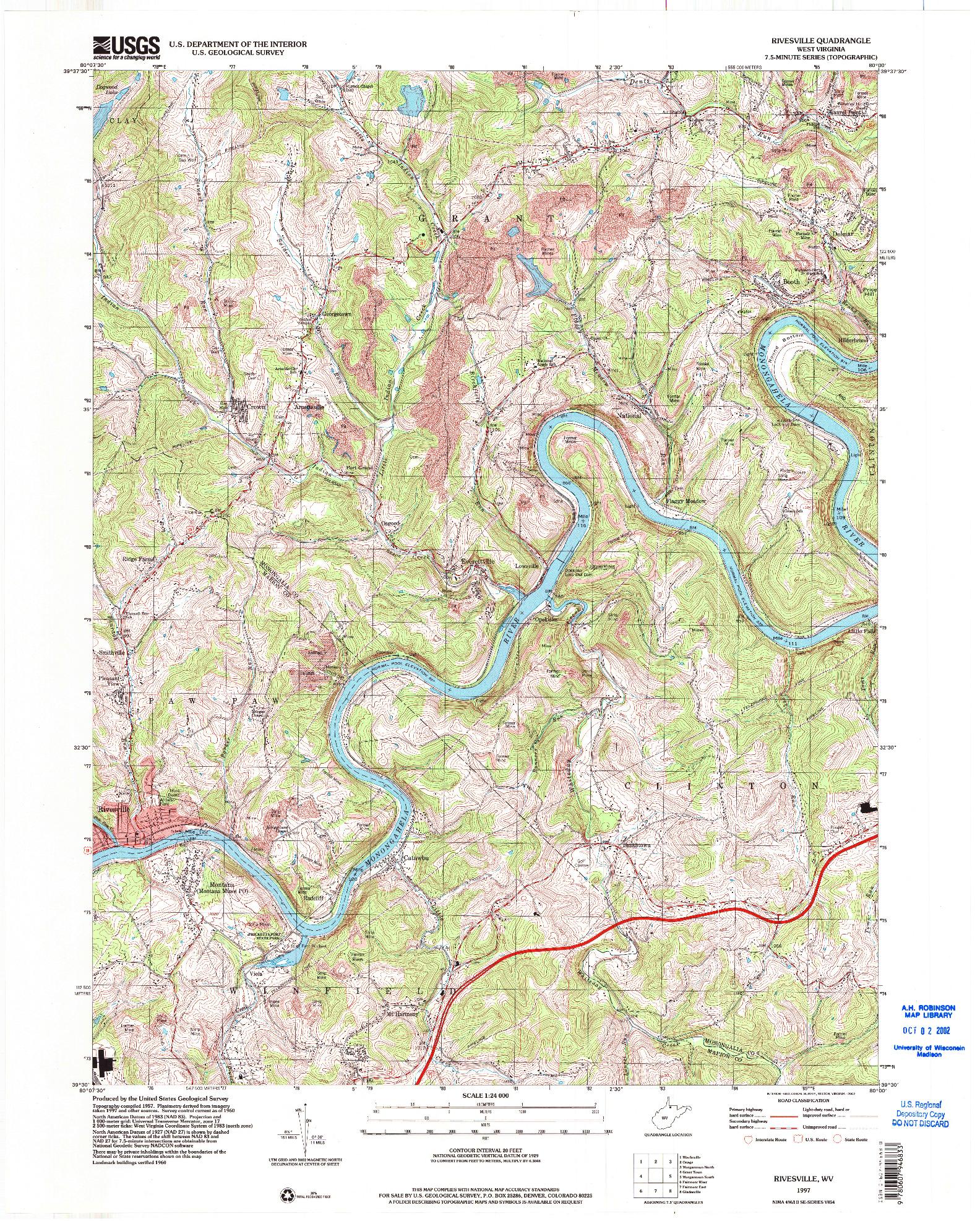 USGS 1:24000-SCALE QUADRANGLE FOR RIVESVILLE, WV 1997