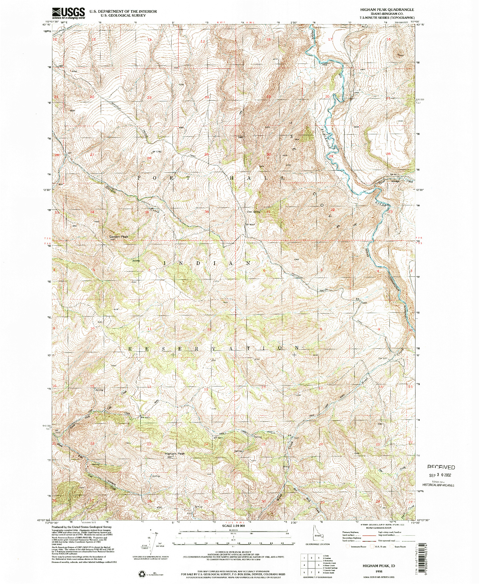 USGS 1:24000-SCALE QUADRANGLE FOR HIGHAM PEAK, ID 1998