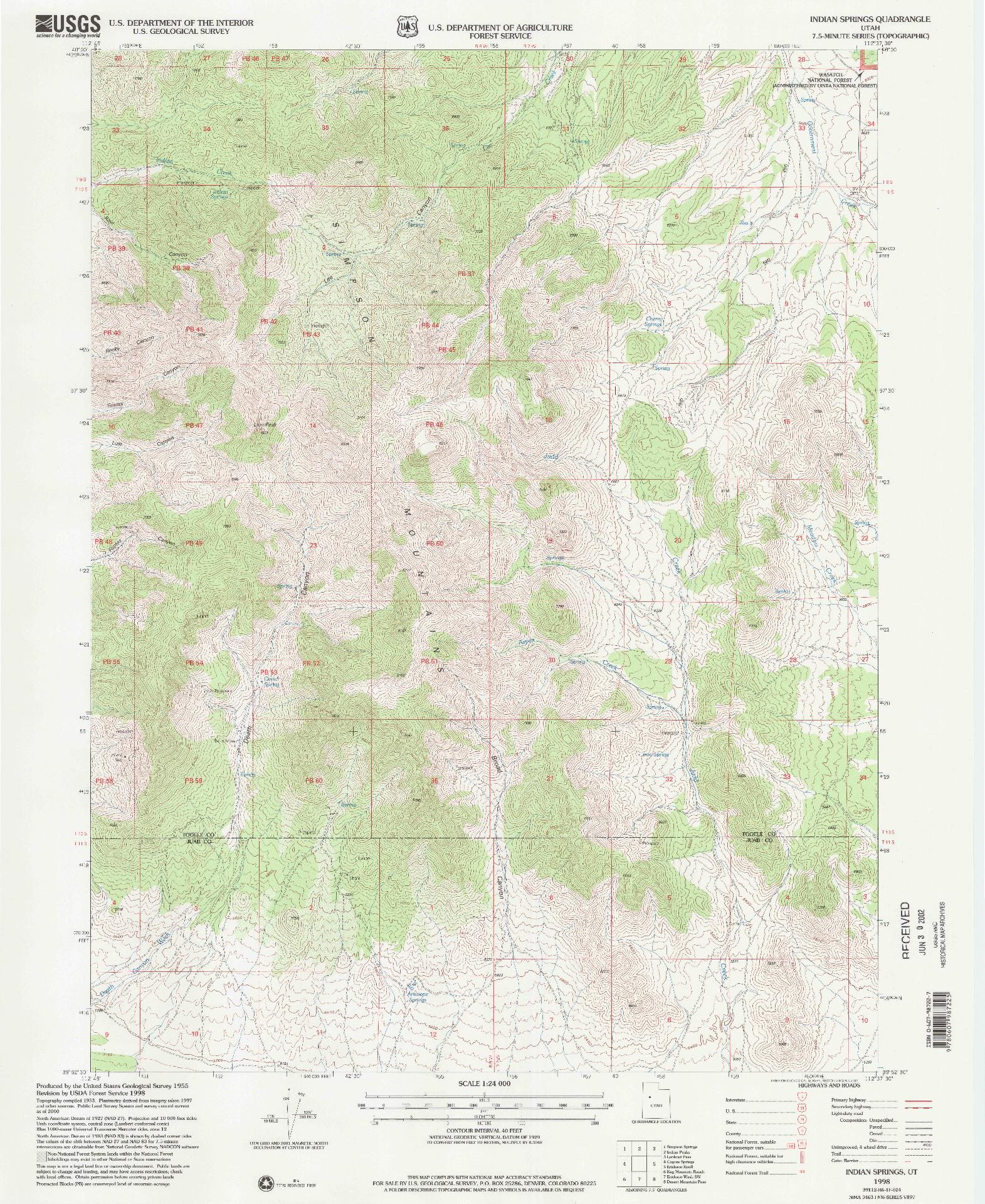 USGS 1:24000-SCALE QUADRANGLE FOR INDIAN SPRINGS, UT 1998