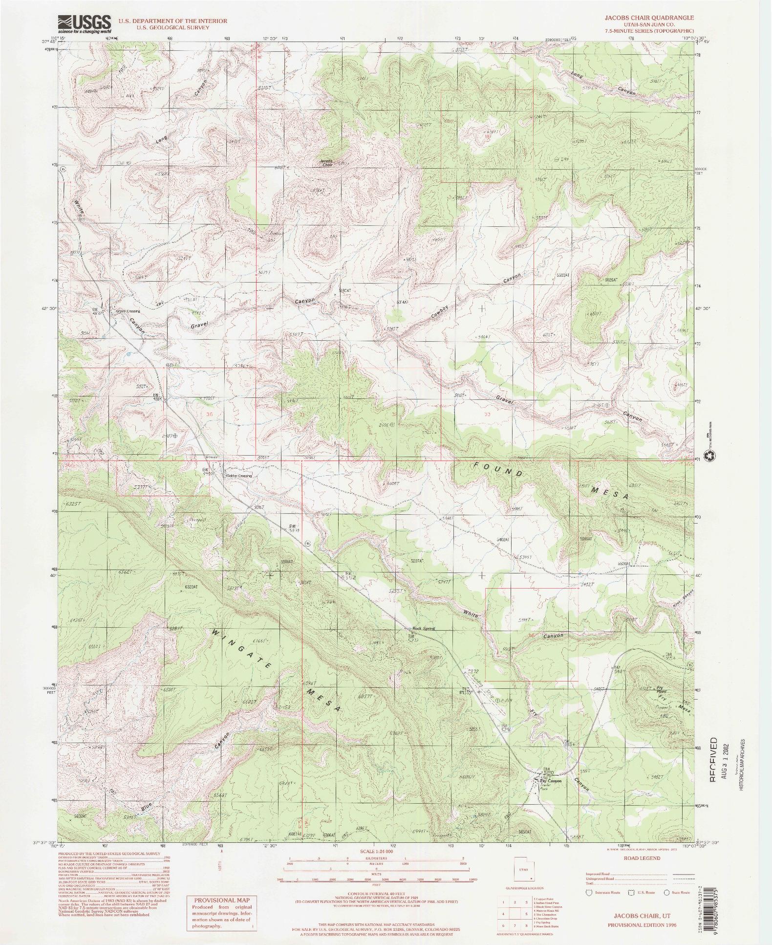 USGS 1:24000-SCALE QUADRANGLE FOR JACOBS CHAIR, UT 1996