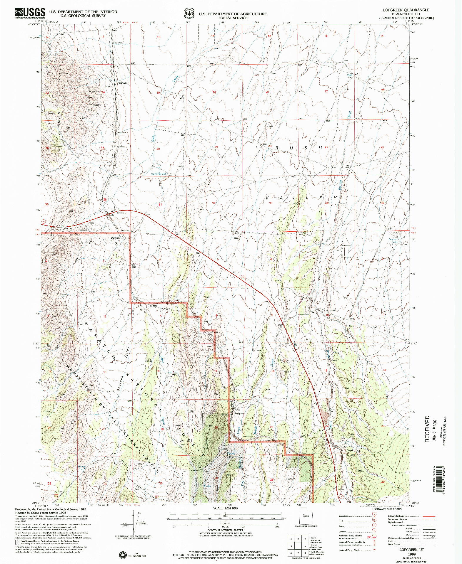 USGS 1:24000-SCALE QUADRANGLE FOR LOFGREEN, UT 1998