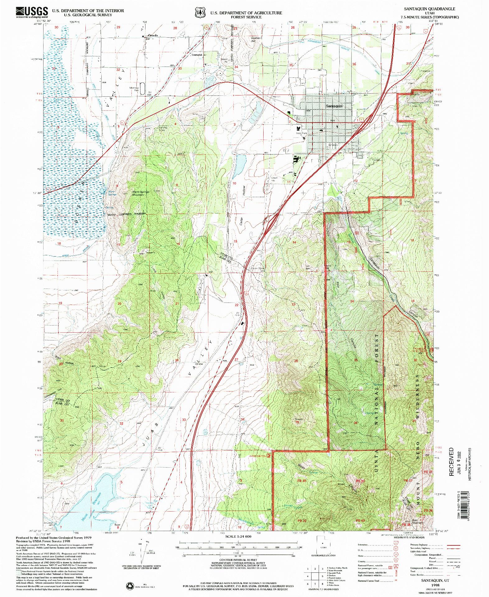 USGS 1:24000-SCALE QUADRANGLE FOR SANTAQUIN, UT 1998