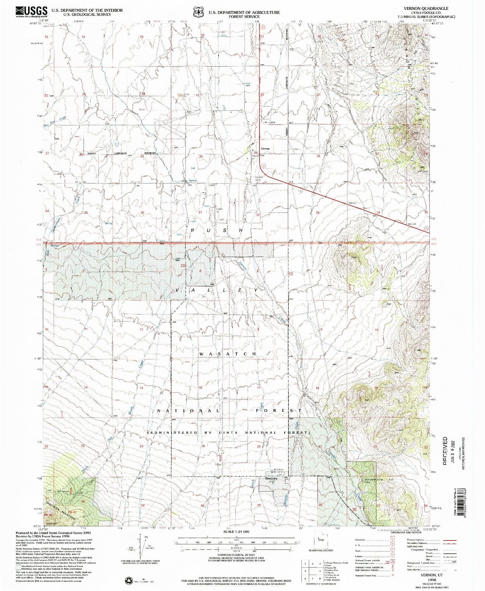 USGS 1:24000-SCALE QUADRANGLE FOR VERNON, UT 1998