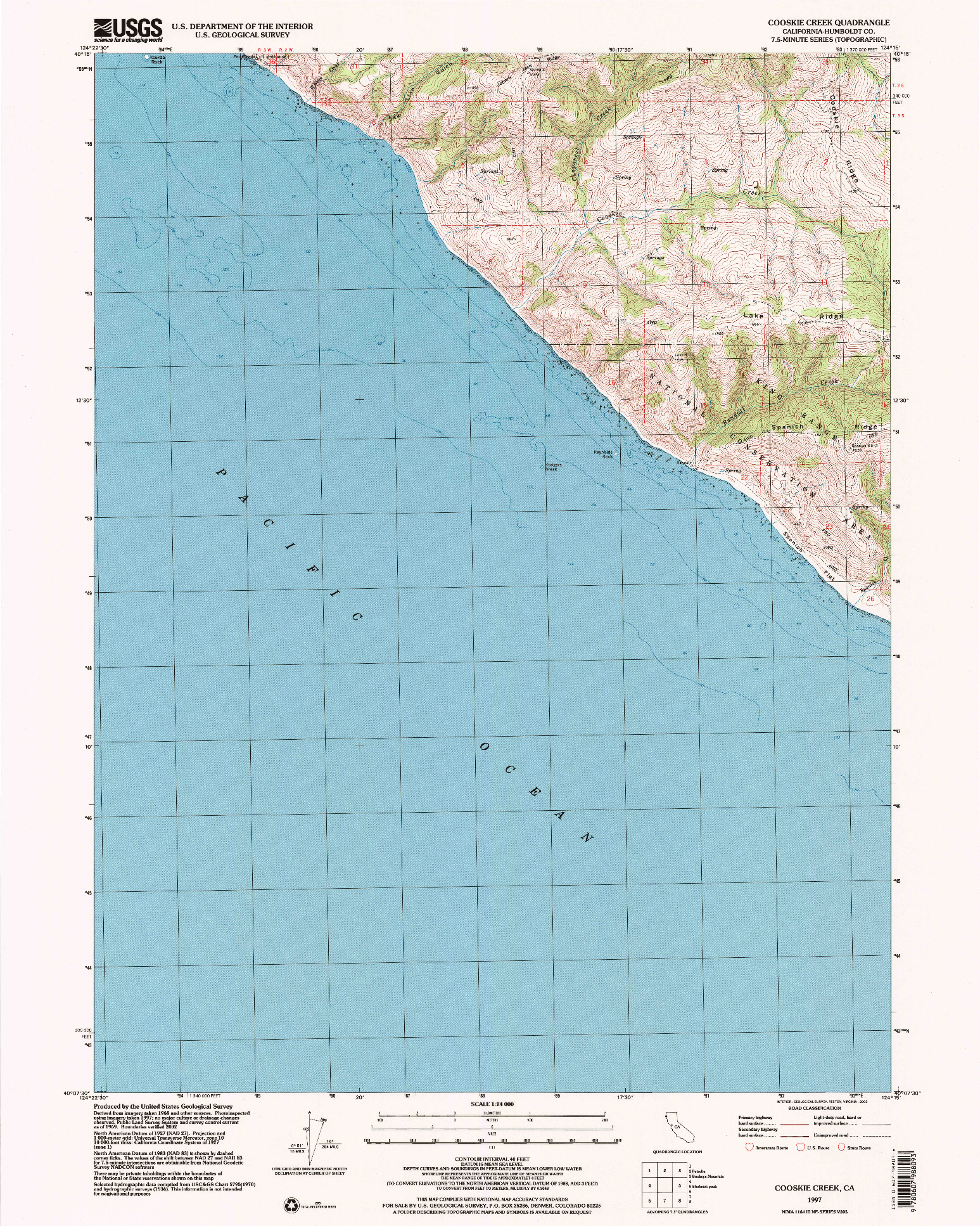 USGS 1:24000-SCALE QUADRANGLE FOR COOSKIE CREEK, CA 1997