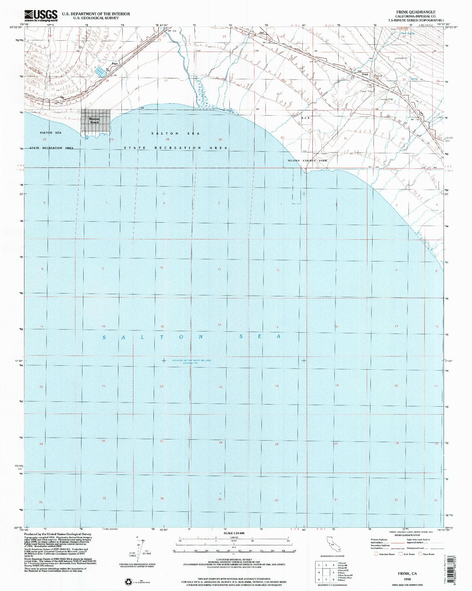 USGS 1:24000-SCALE QUADRANGLE FOR FRINK, CA 1998