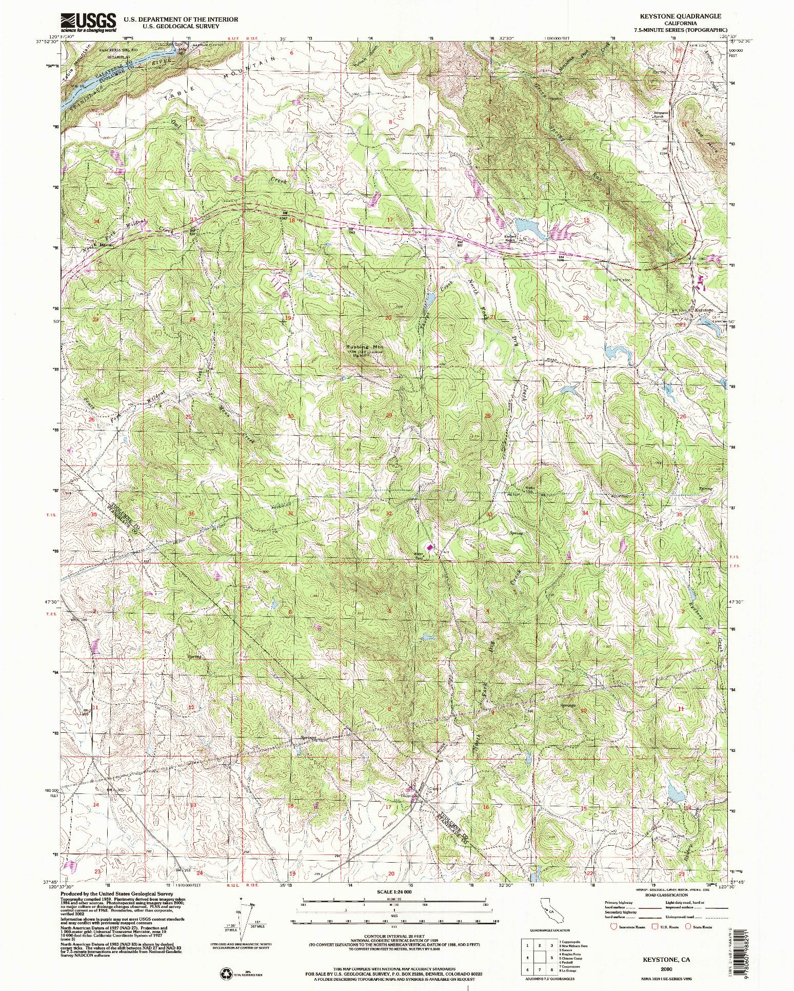 USGS 1:24000-SCALE QUADRANGLE FOR KEYSTONE, CA 2000