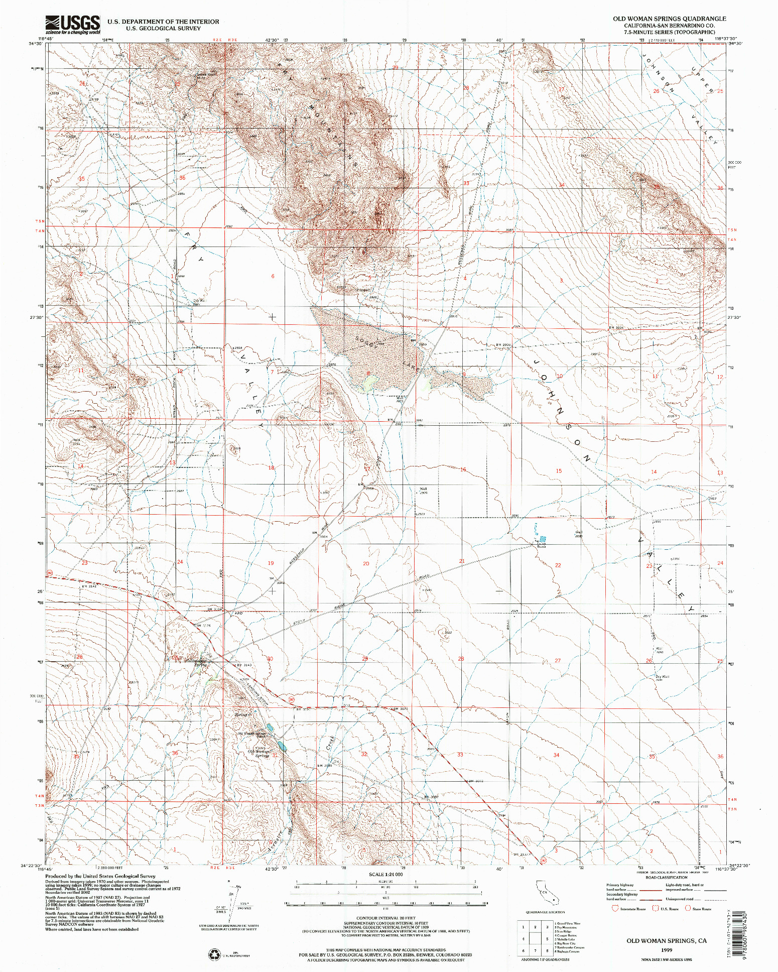 USGS 1:24000-SCALE QUADRANGLE FOR OLD WOMAN SPRINGS, CA 1999