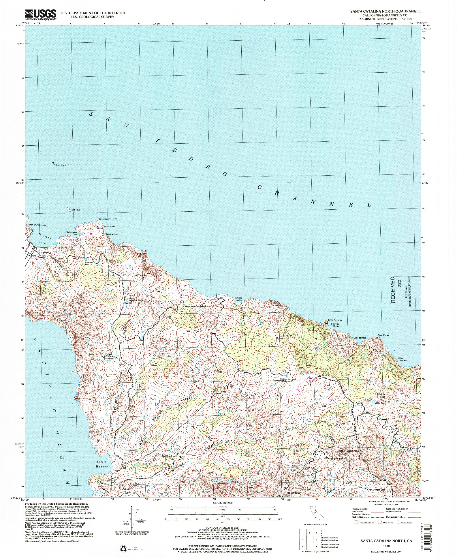 USGS 1:24000-SCALE QUADRANGLE FOR SANTA CATALINA NORTH, CA 1998