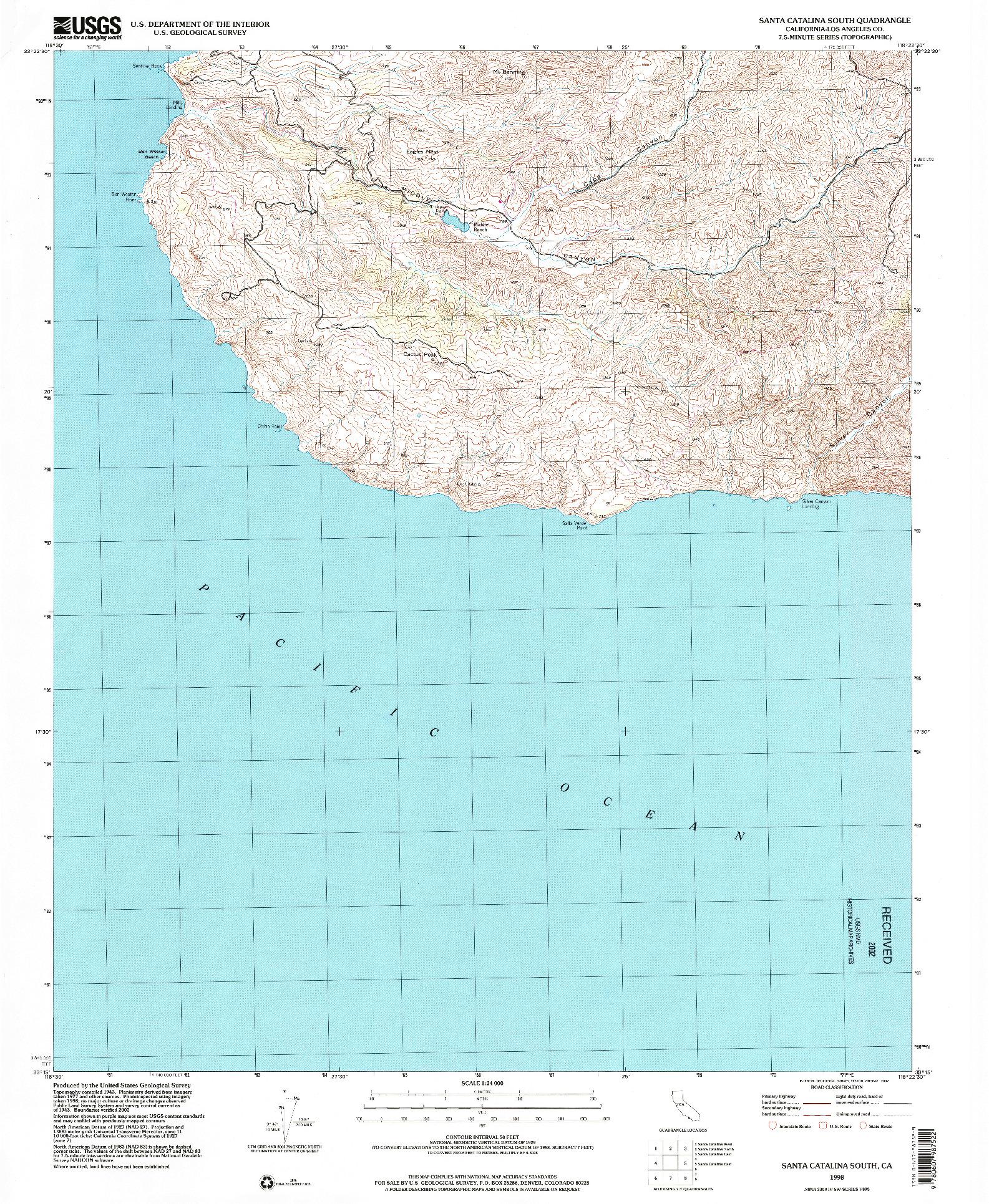 USGS 1:24000-SCALE QUADRANGLE FOR SANTA CATALINA SOUTH, CA 1998