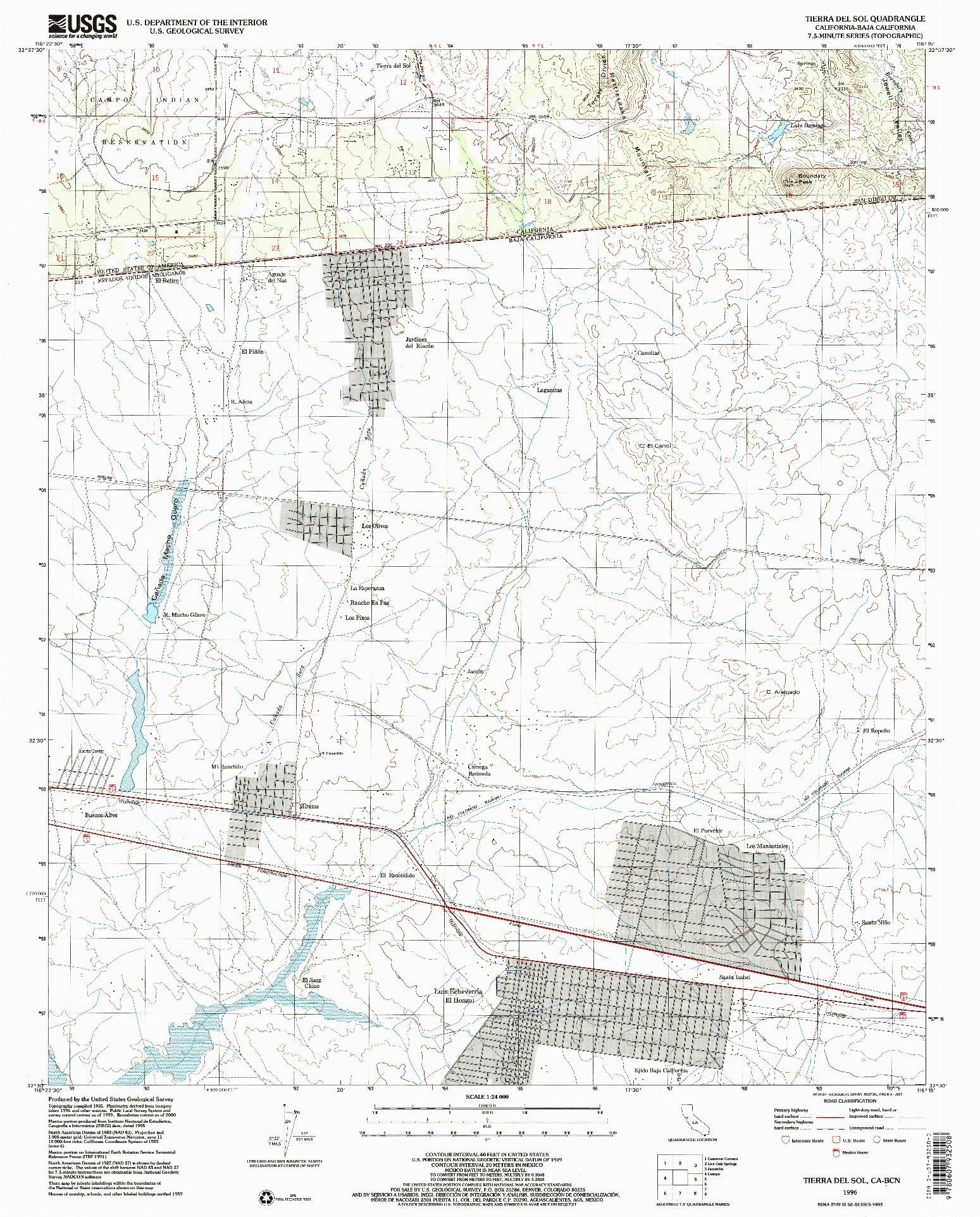 USGS 1:24000-SCALE QUADRANGLE FOR TIERRA DEL SOL, CA 1996