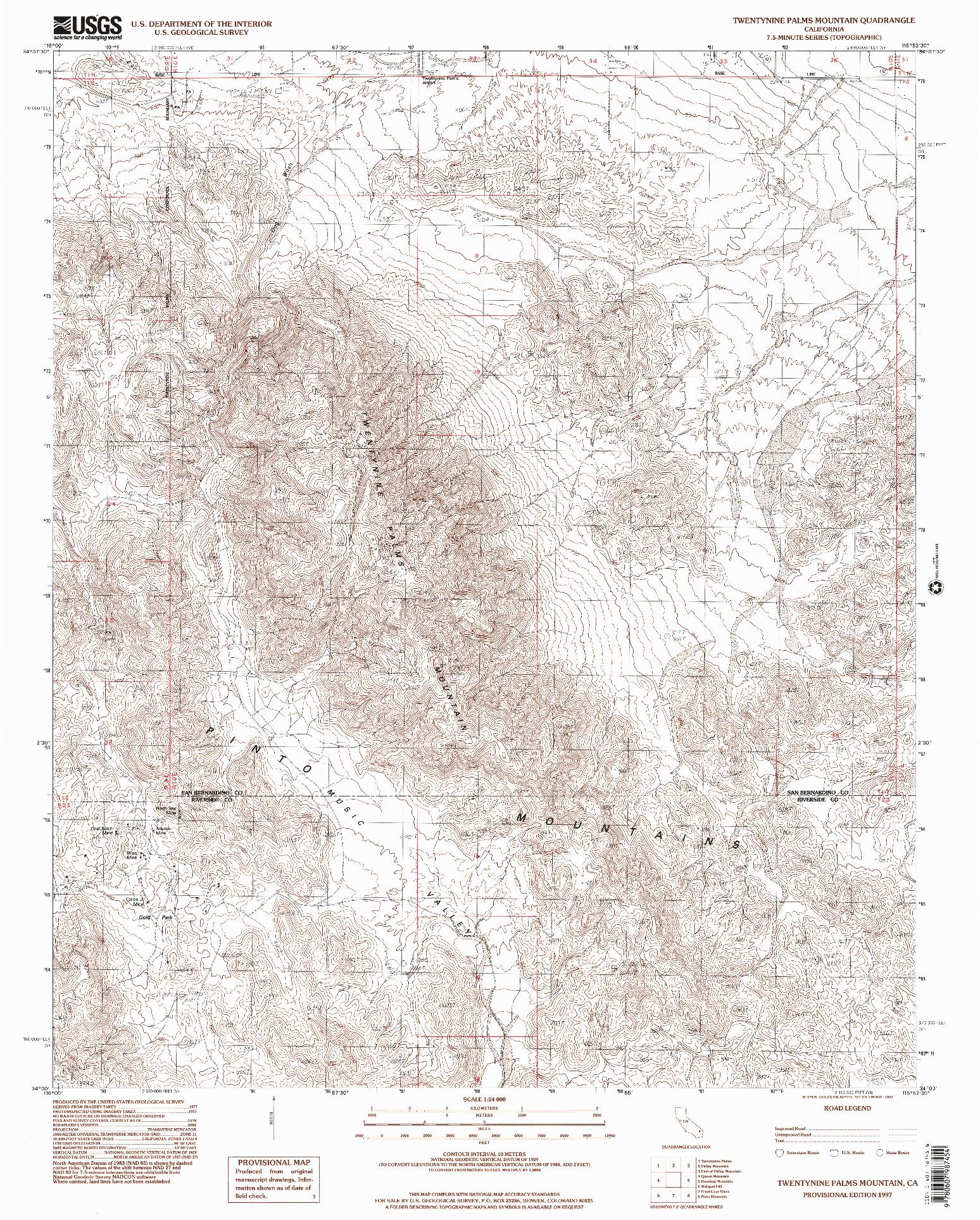 USGS 1:24000-SCALE QUADRANGLE FOR TWENTYNINE PALMS MOUNTAIN, CA 1997