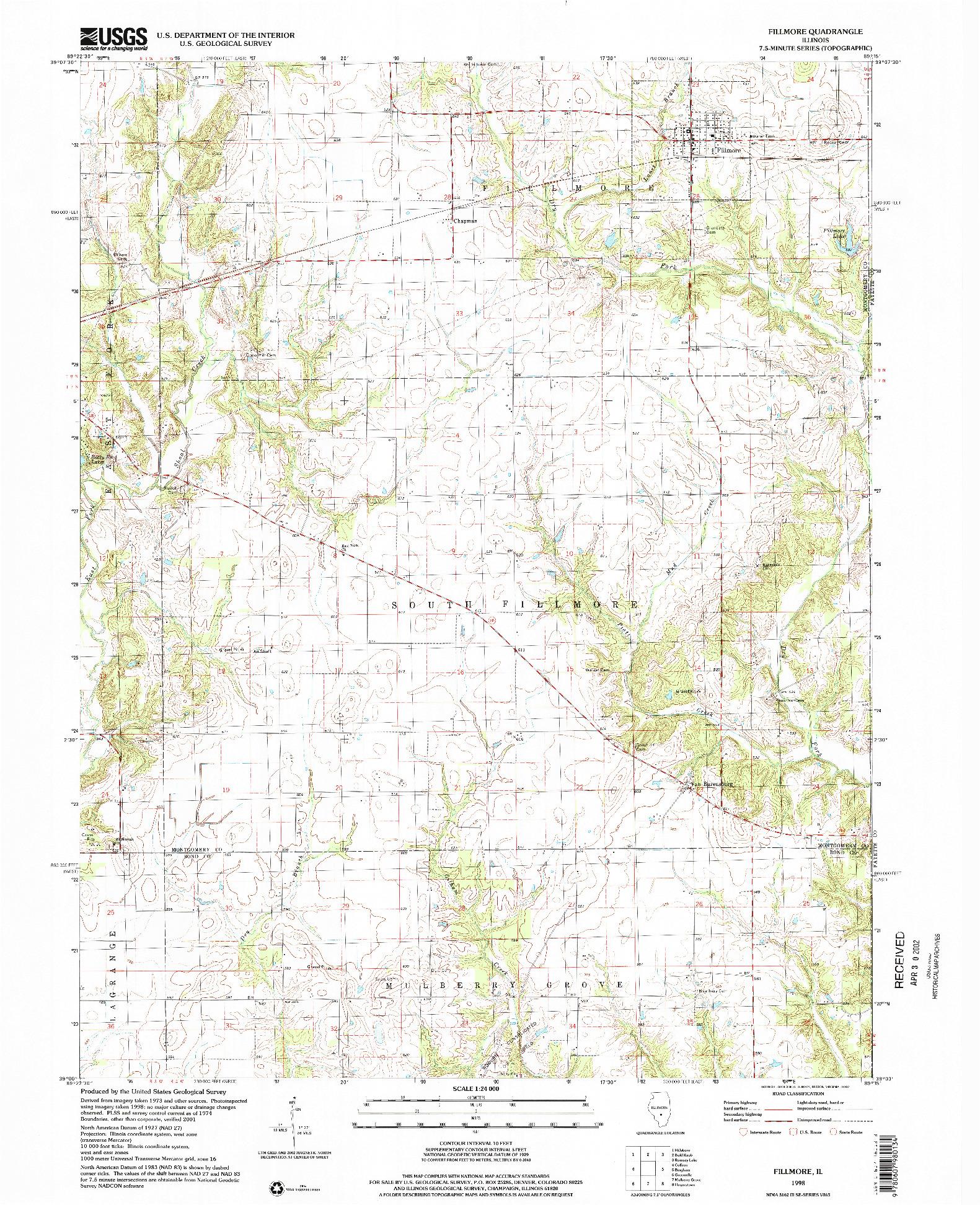 USGS 1:24000-SCALE QUADRANGLE FOR FILLMORE, IL 1998