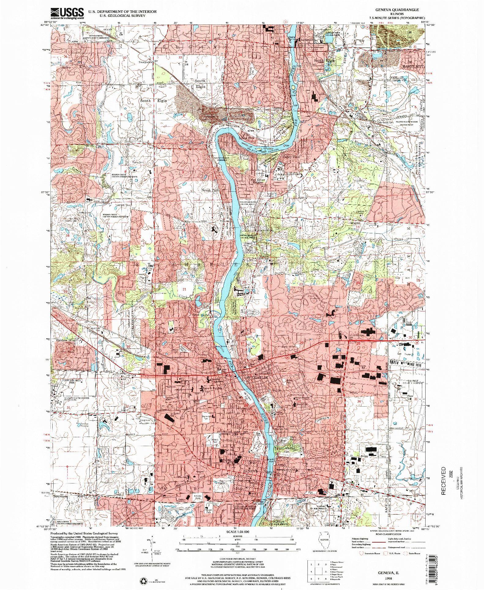 USGS 1:24000-SCALE QUADRANGLE FOR GENEVA, IL 1998