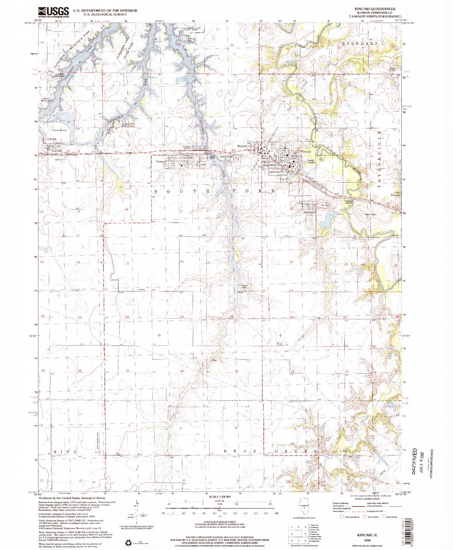 USGS 1:24000-SCALE QUADRANGLE FOR KINCAID, IL 1998