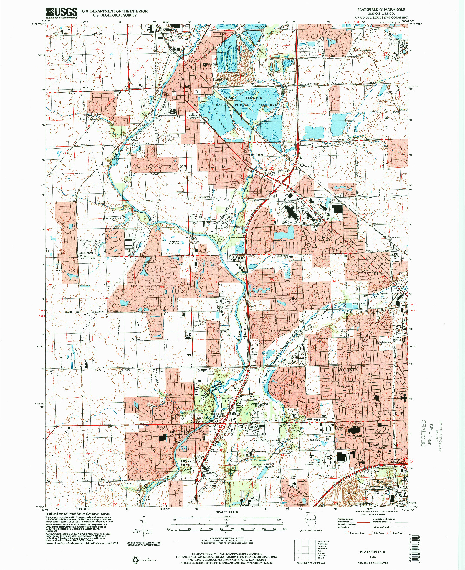 USGS 1:24000-SCALE QUADRANGLE FOR PLAINFIELD, IL 1998