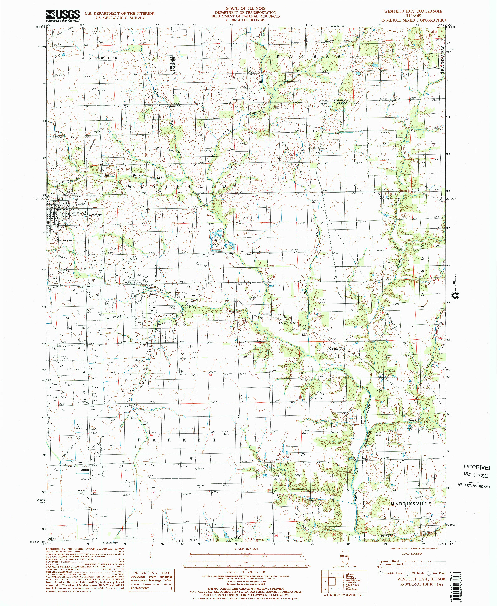 USGS 1:24000-SCALE QUADRANGLE FOR WESTFIELD EAST, IL 1998