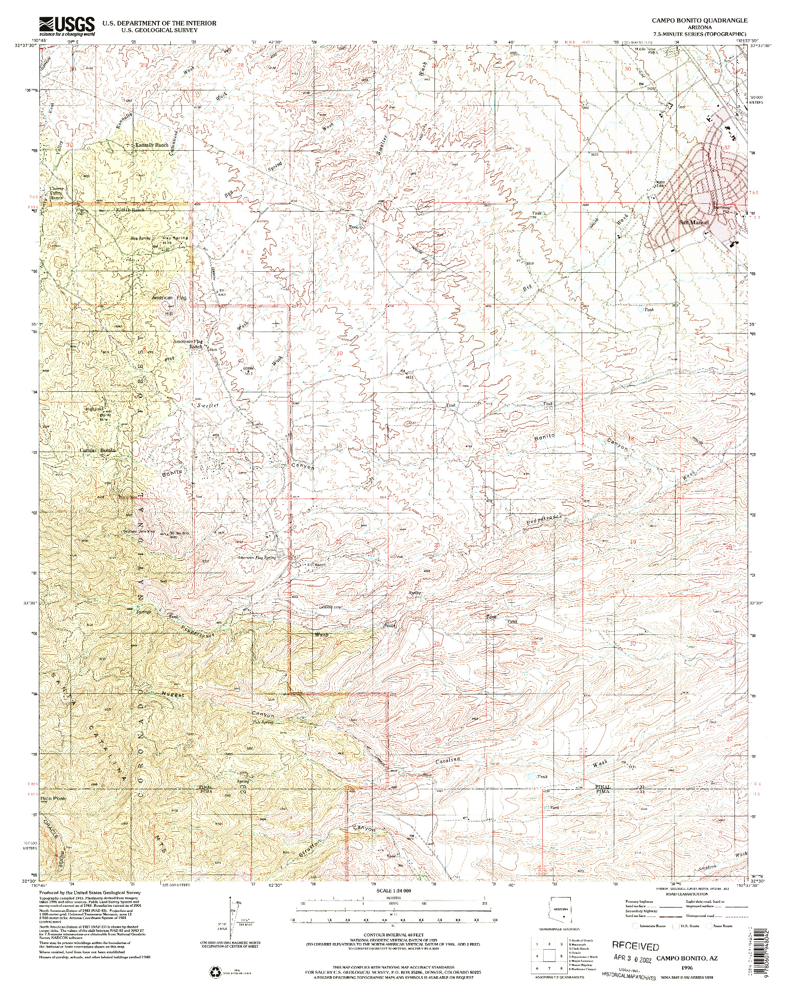 USGS 1:24000-SCALE QUADRANGLE FOR CAMPO BONITO, AZ 1996