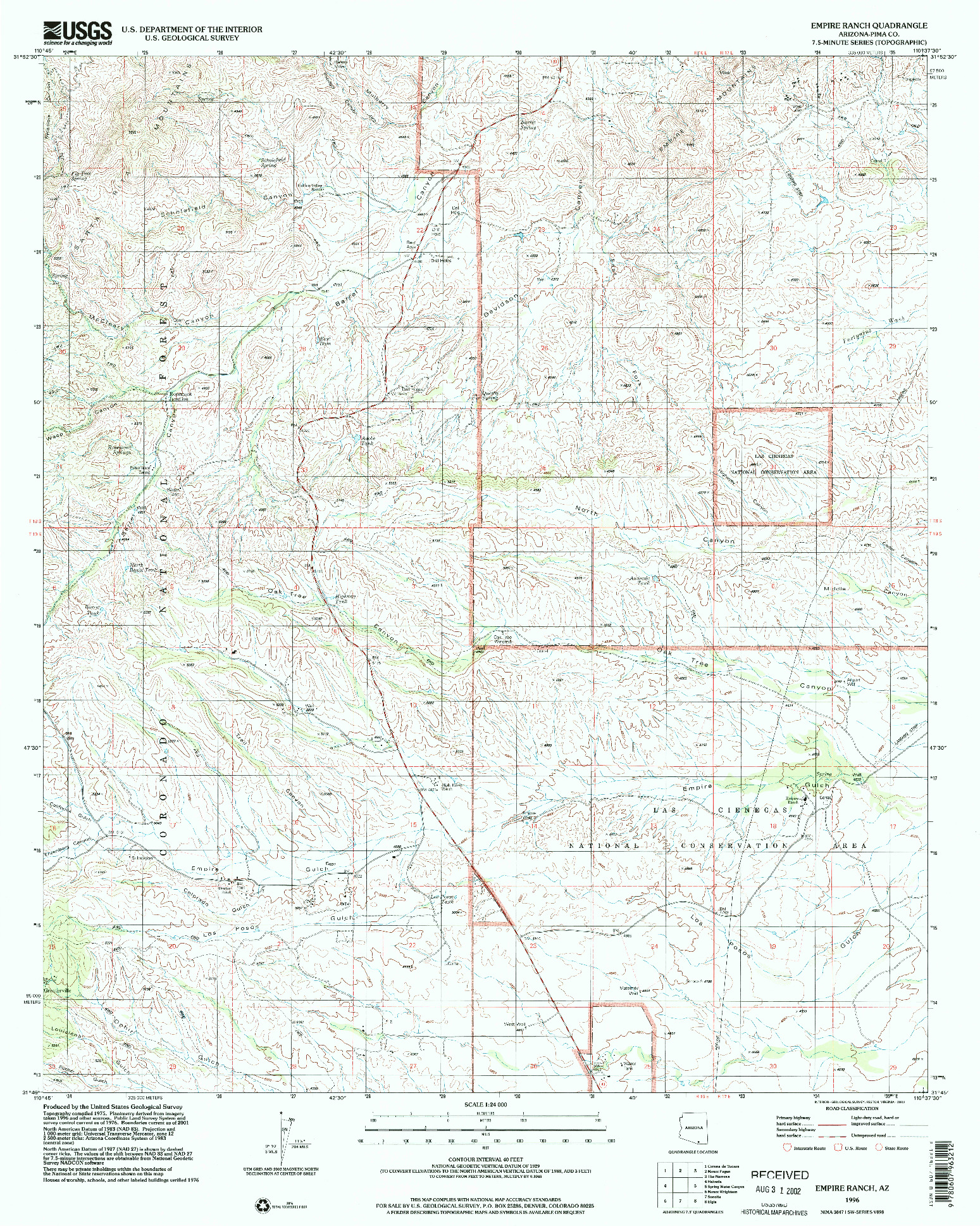 USGS 1:24000-SCALE QUADRANGLE FOR EMPIRE RANCH, AZ 1996