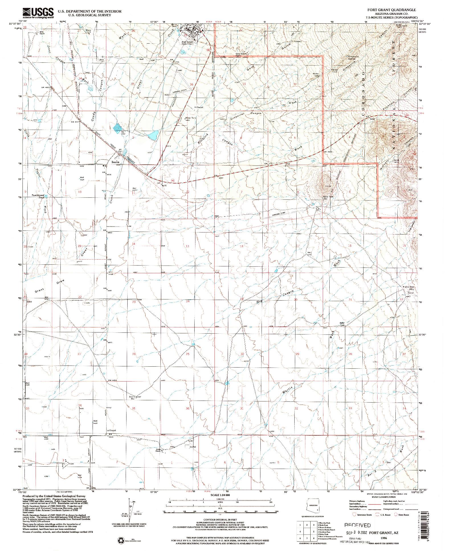 USGS 1:24000-SCALE QUADRANGLE FOR FORT GRANT, AZ 1996