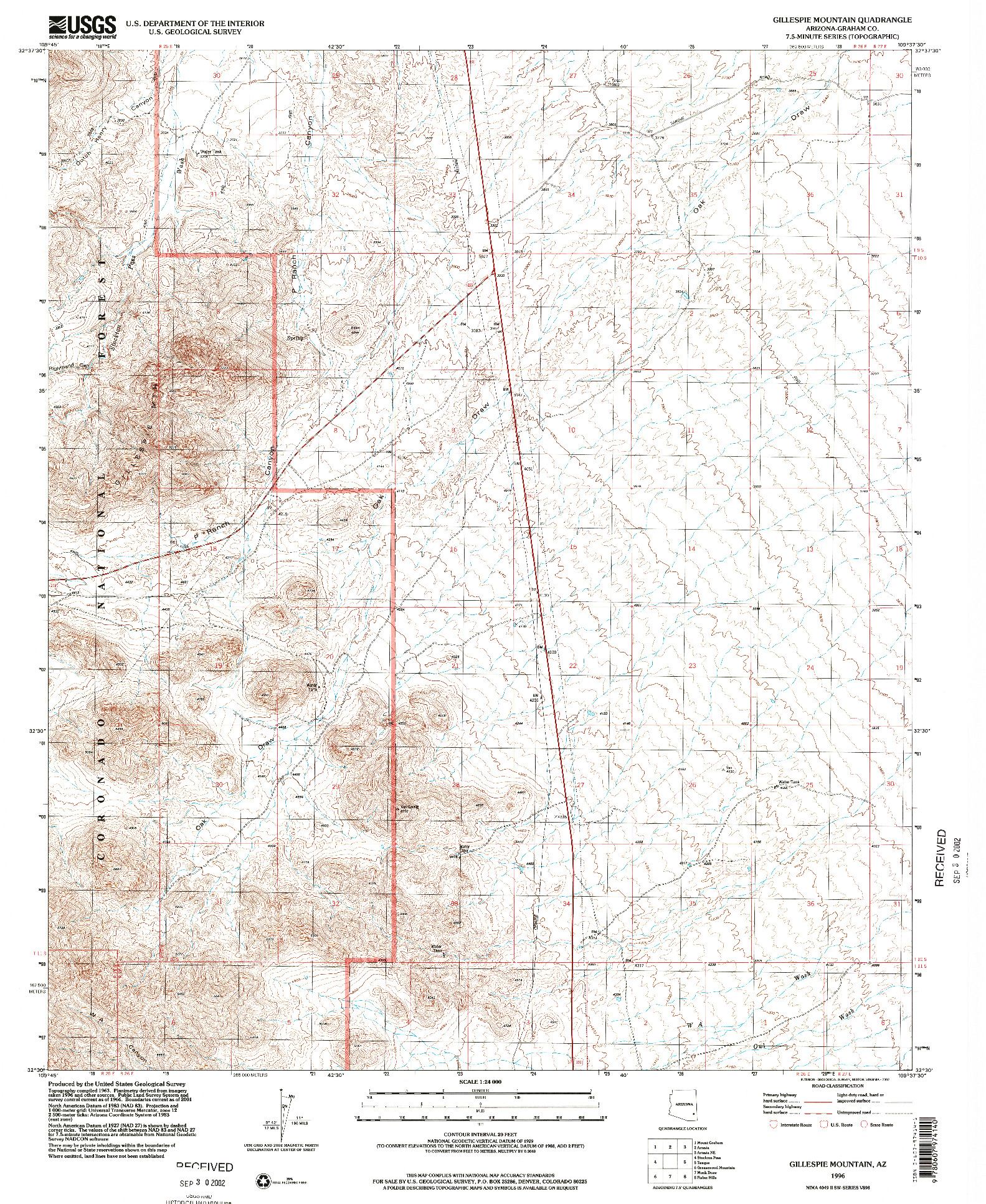 USGS 1:24000-SCALE QUADRANGLE FOR GILLESPIE MOUNTAIN, AZ 1996