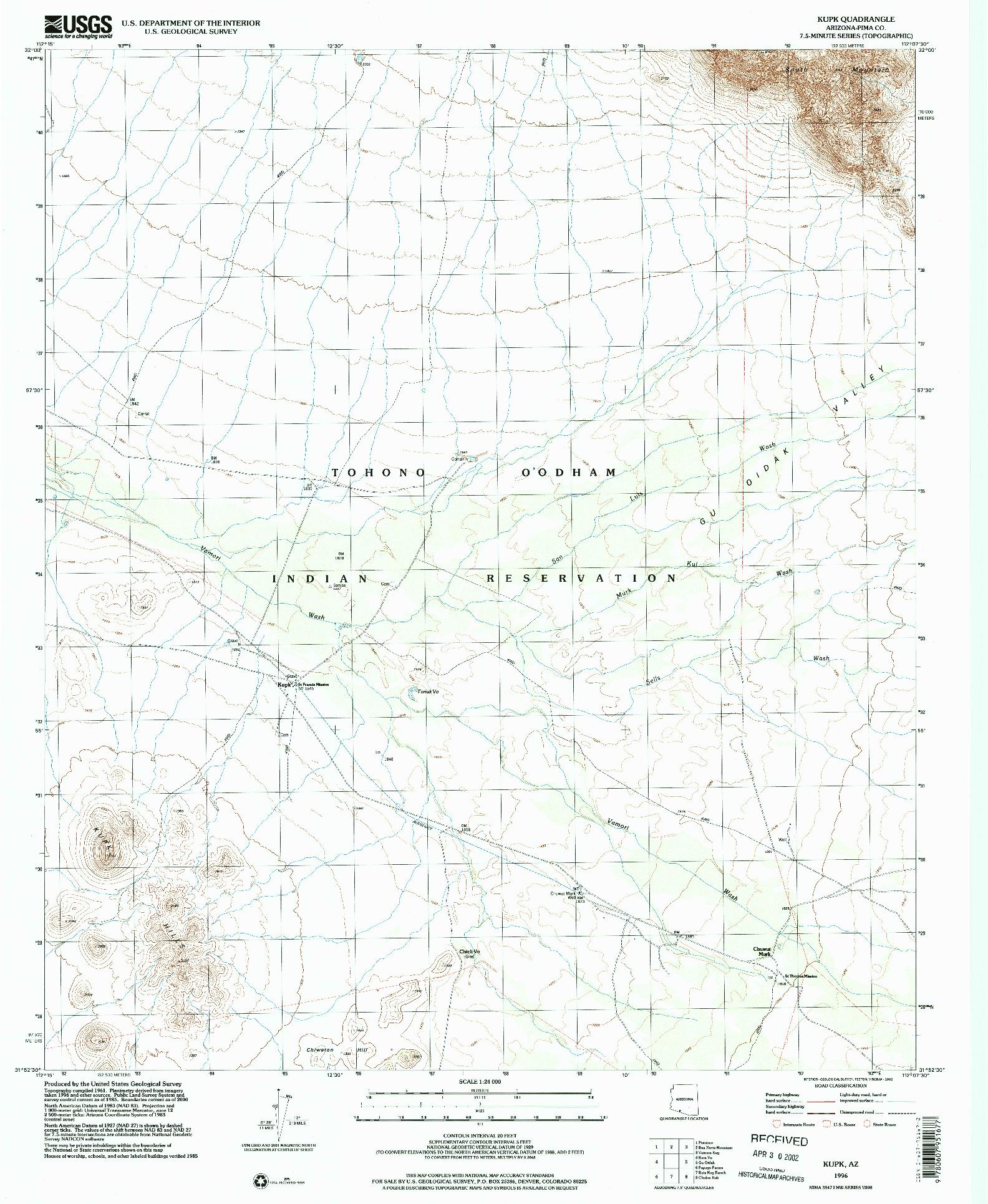 USGS 1:24000-SCALE QUADRANGLE FOR KUPK, AZ 1996