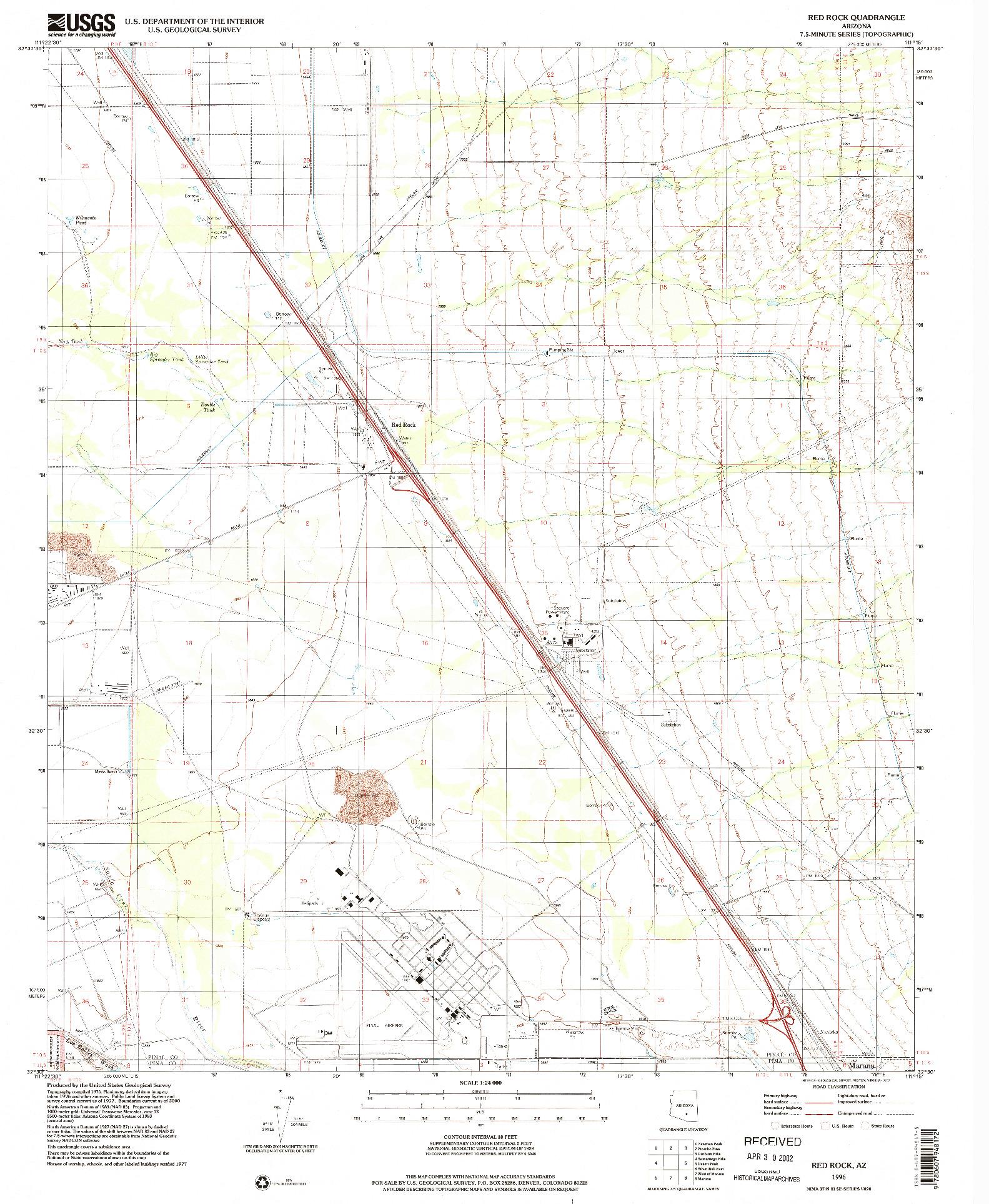 USGS 1:24000-SCALE QUADRANGLE FOR RED ROCK, AZ 1996