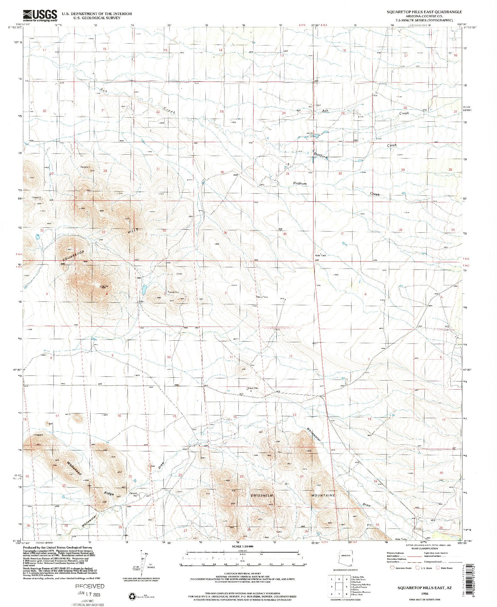 USGS 1:24000-SCALE QUADRANGLE FOR SQUARETOP HILLS EAST, AZ 1996