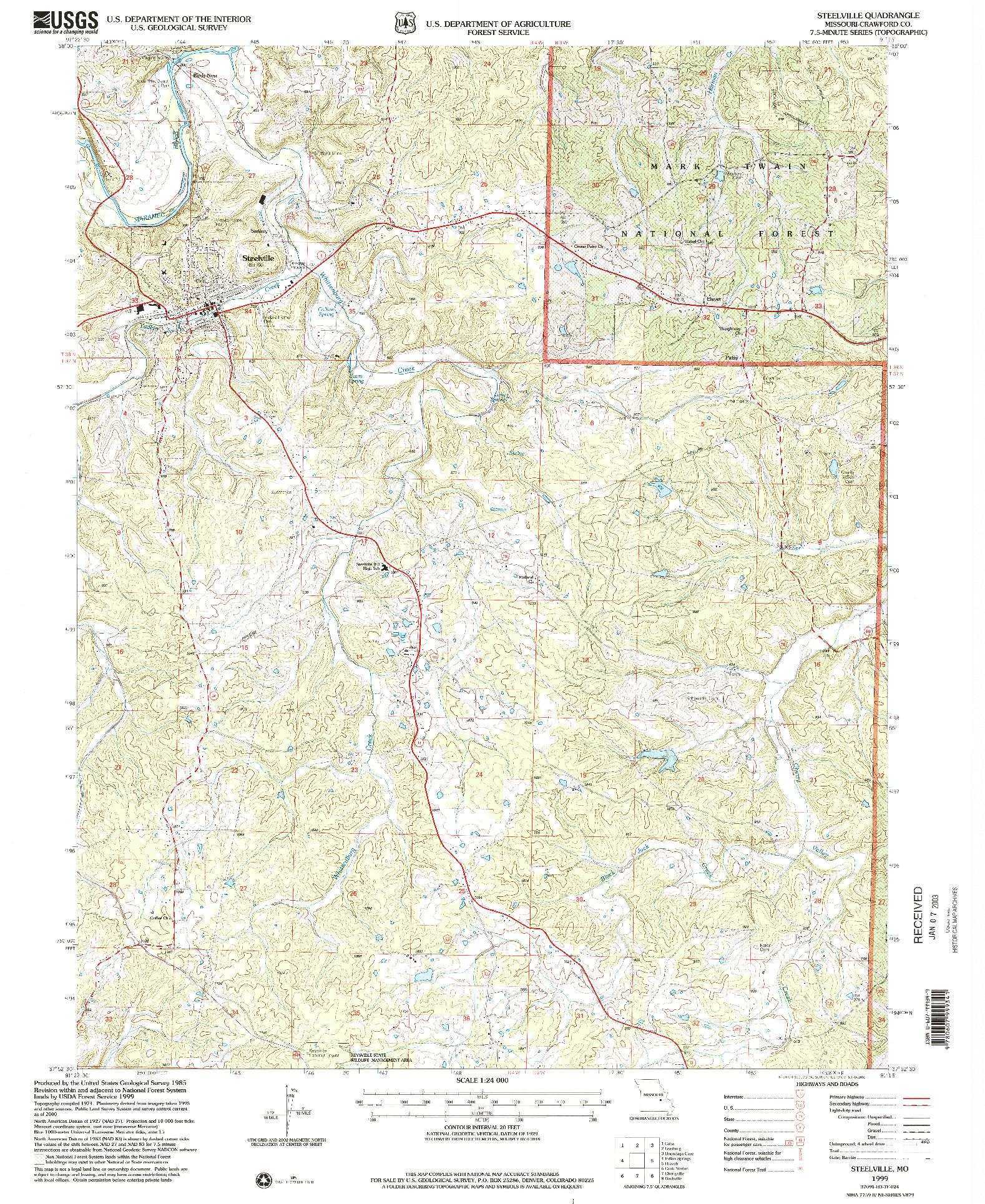 USGS 1:24000-SCALE QUADRANGLE FOR STEELVILLE, MO 1999