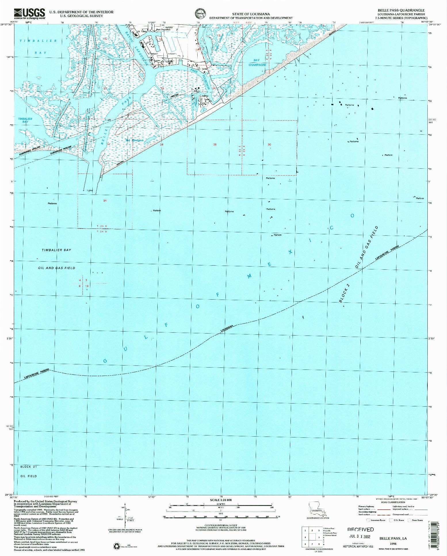 USGS 1:24000-SCALE QUADRANGLE FOR BELLE PASS, LA 1998
