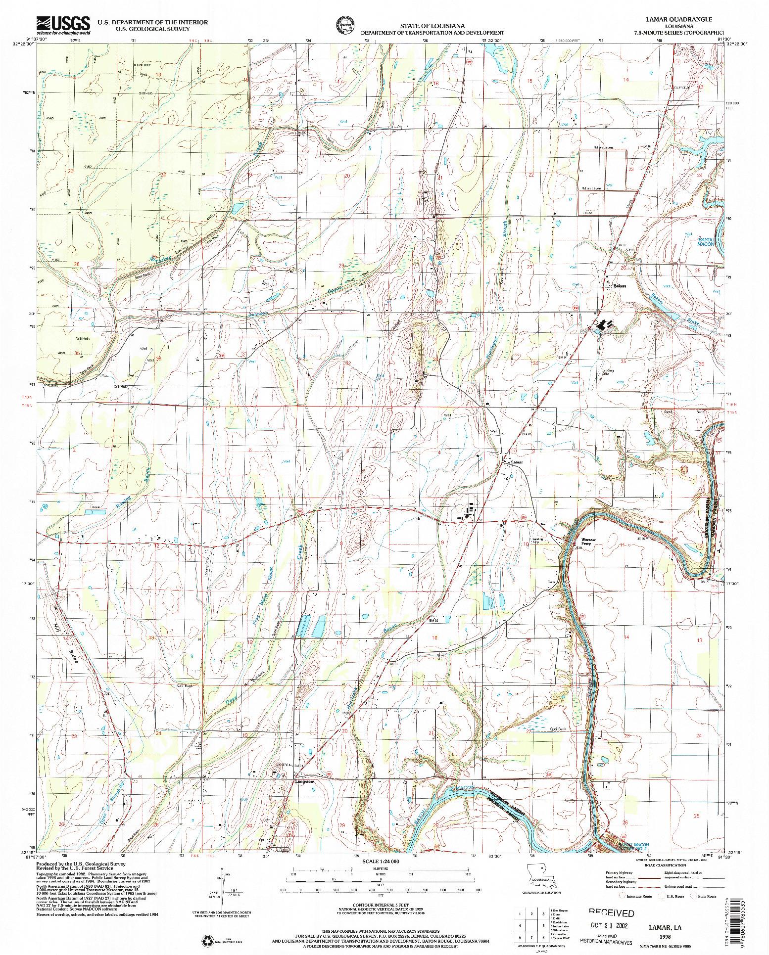 USGS 1:24000-SCALE QUADRANGLE FOR LAMAR, LA 1998