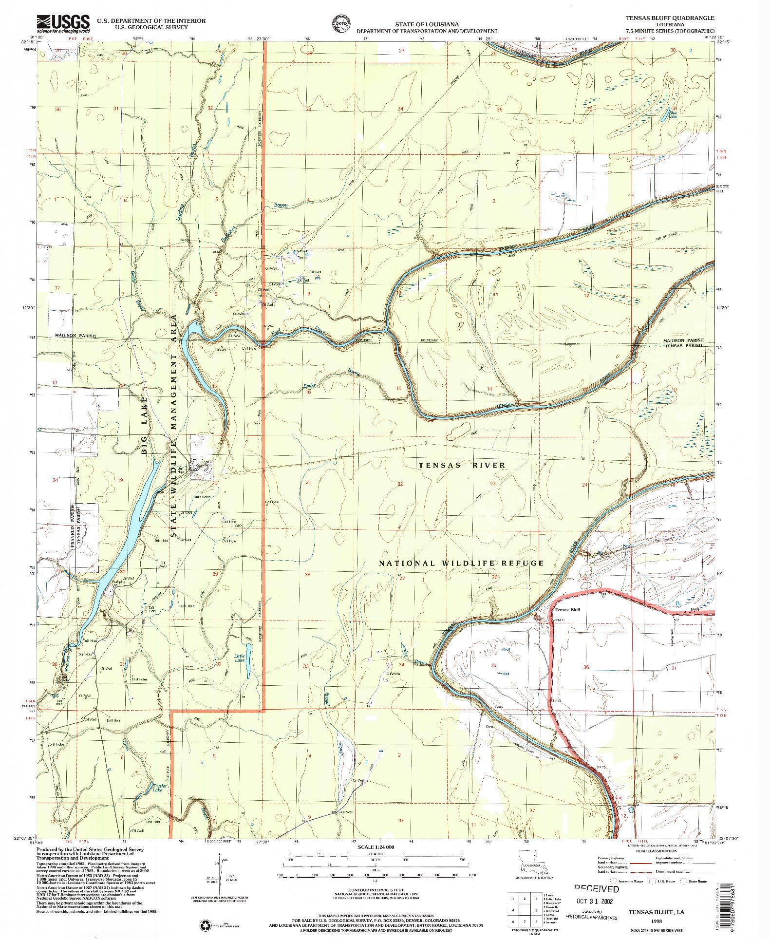 USGS 1:24000-SCALE QUADRANGLE FOR TENSAS BLUFF, LA 1998