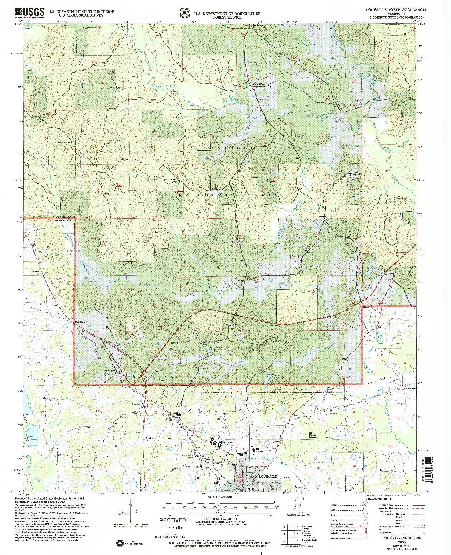 USGS 1:24000-SCALE QUADRANGLE FOR LOUISVILLE NORTH, MS 2000